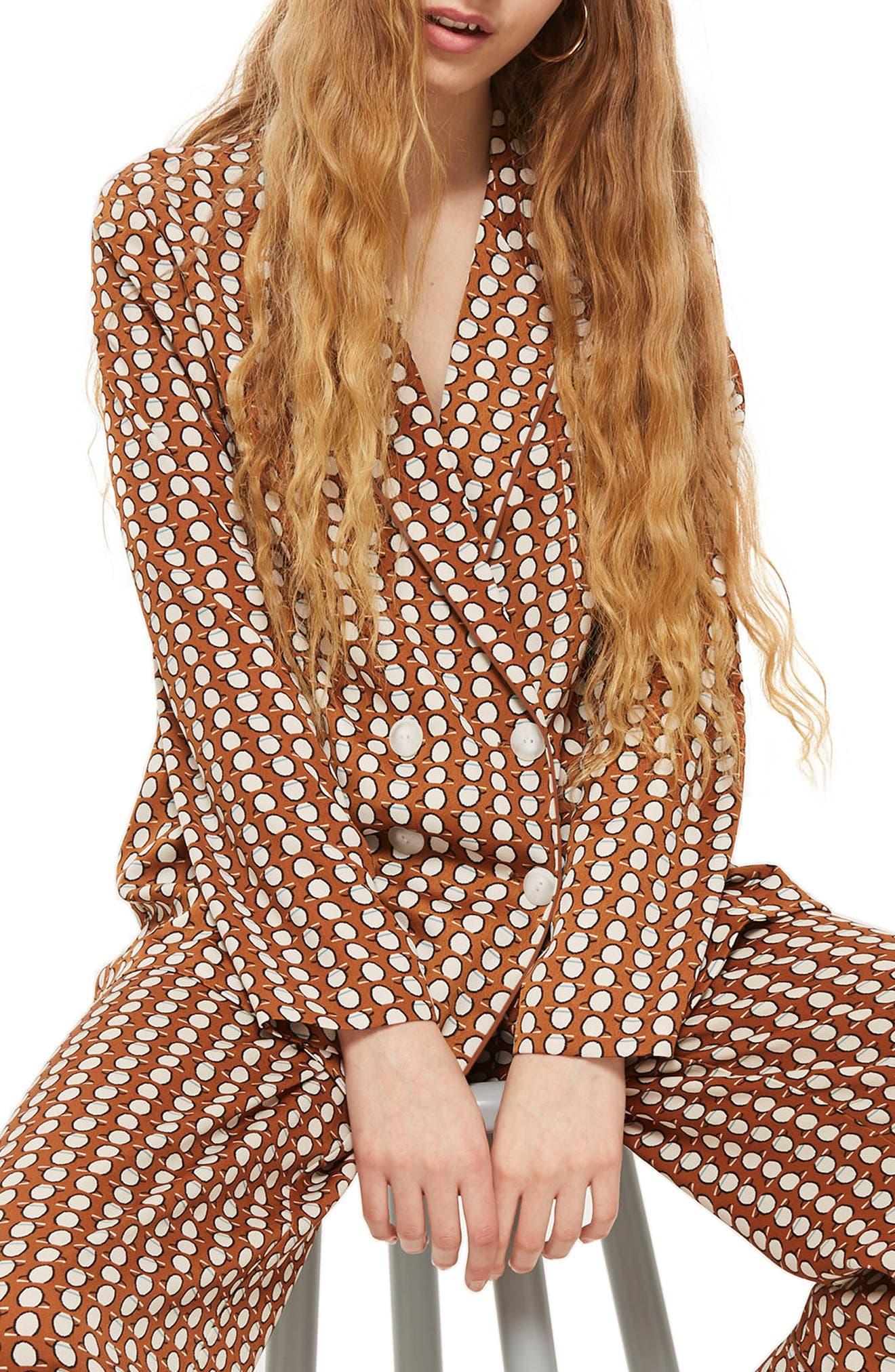 Geo Print Pajama Jacket,                             Main thumbnail 1, color,                             Brown Multi