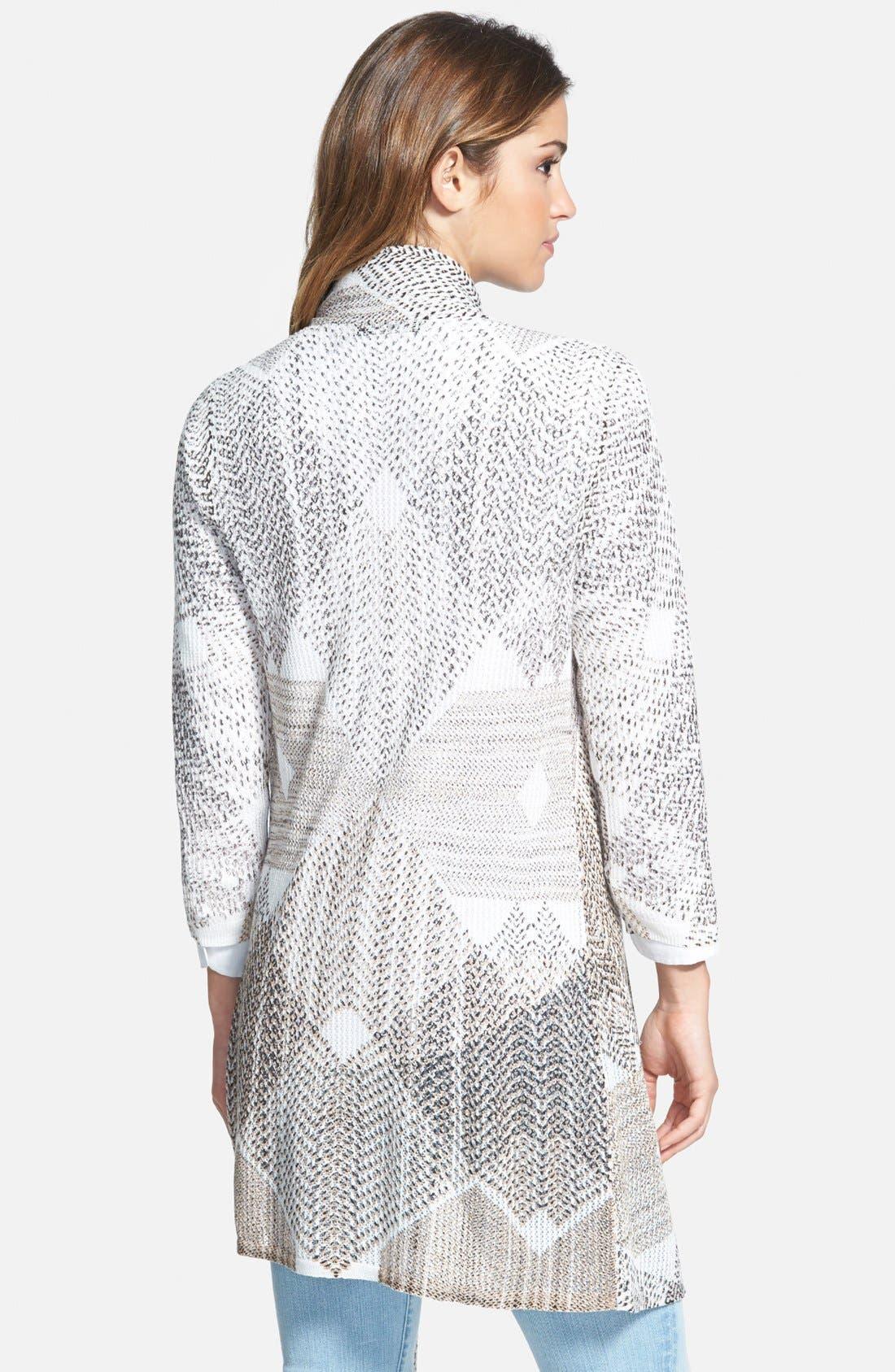 Alternate Image 2  - NIC+ZOE 'Dashed Diamonds' Long Cardigan (Regular & Petite)