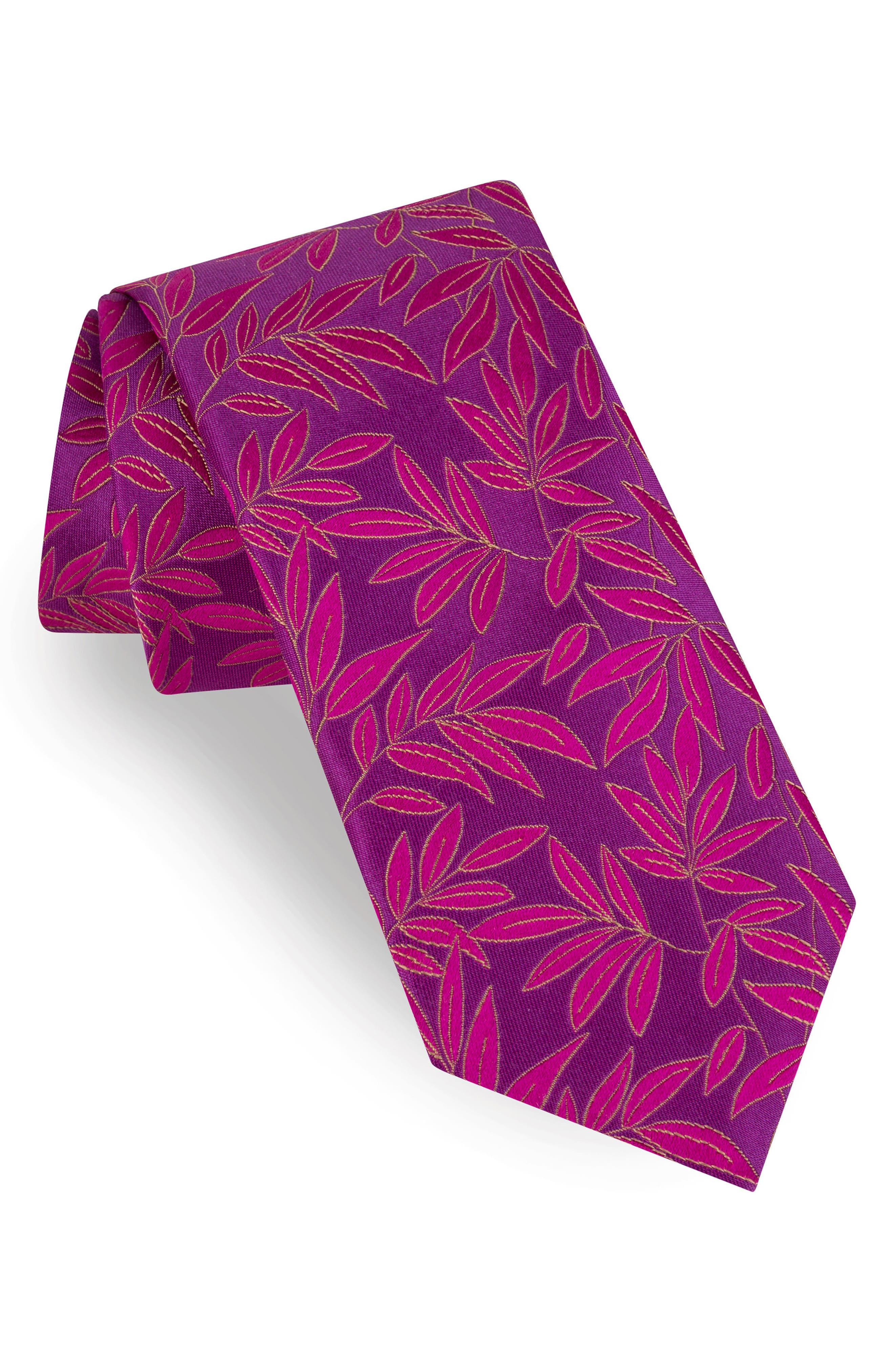 Tonal Leaves Silk Tie,                             Main thumbnail 1, color,                             Pink