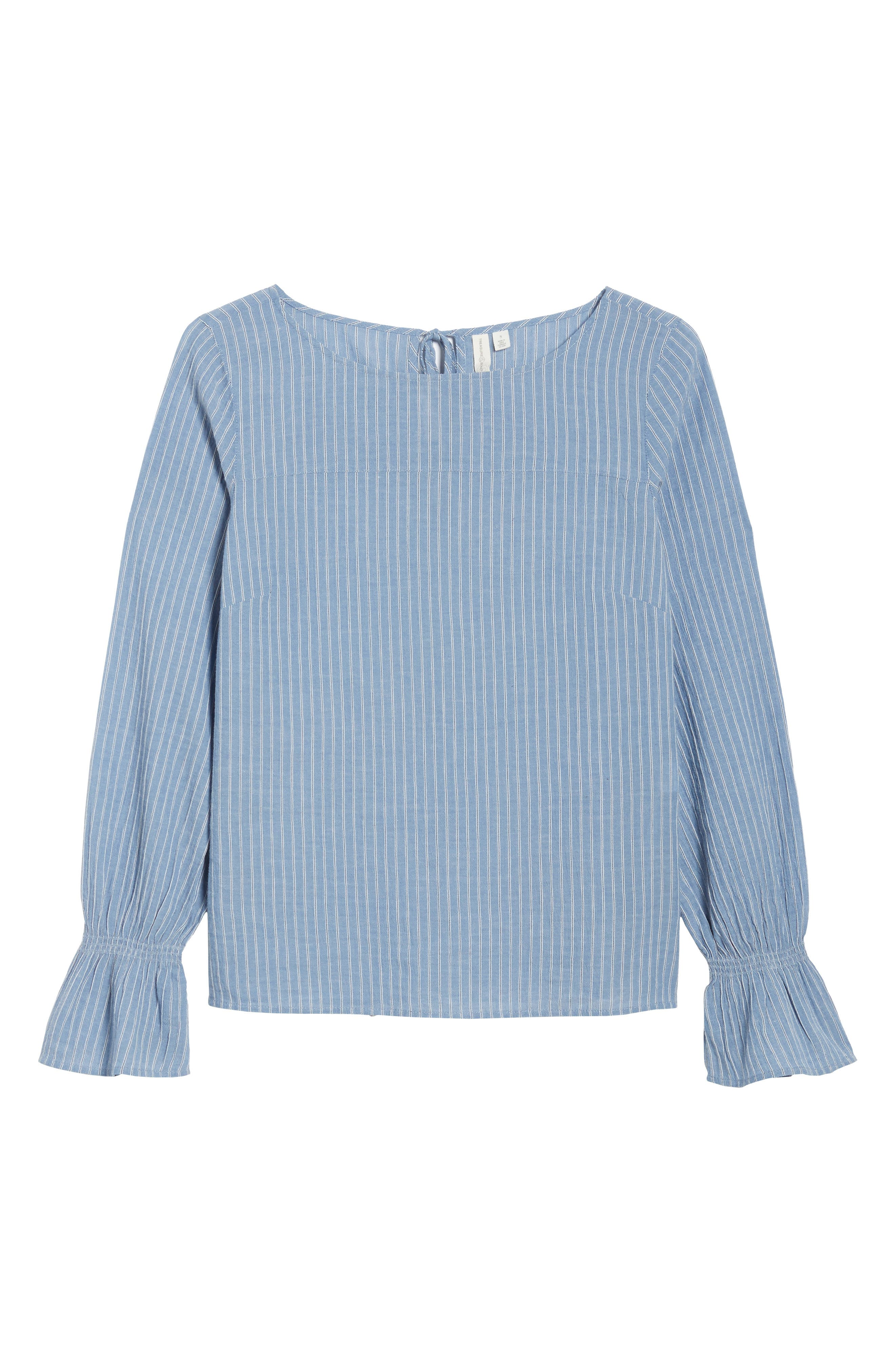Tie Back Top,                             Alternate thumbnail 7, color,                             Blue Airy Stripe
