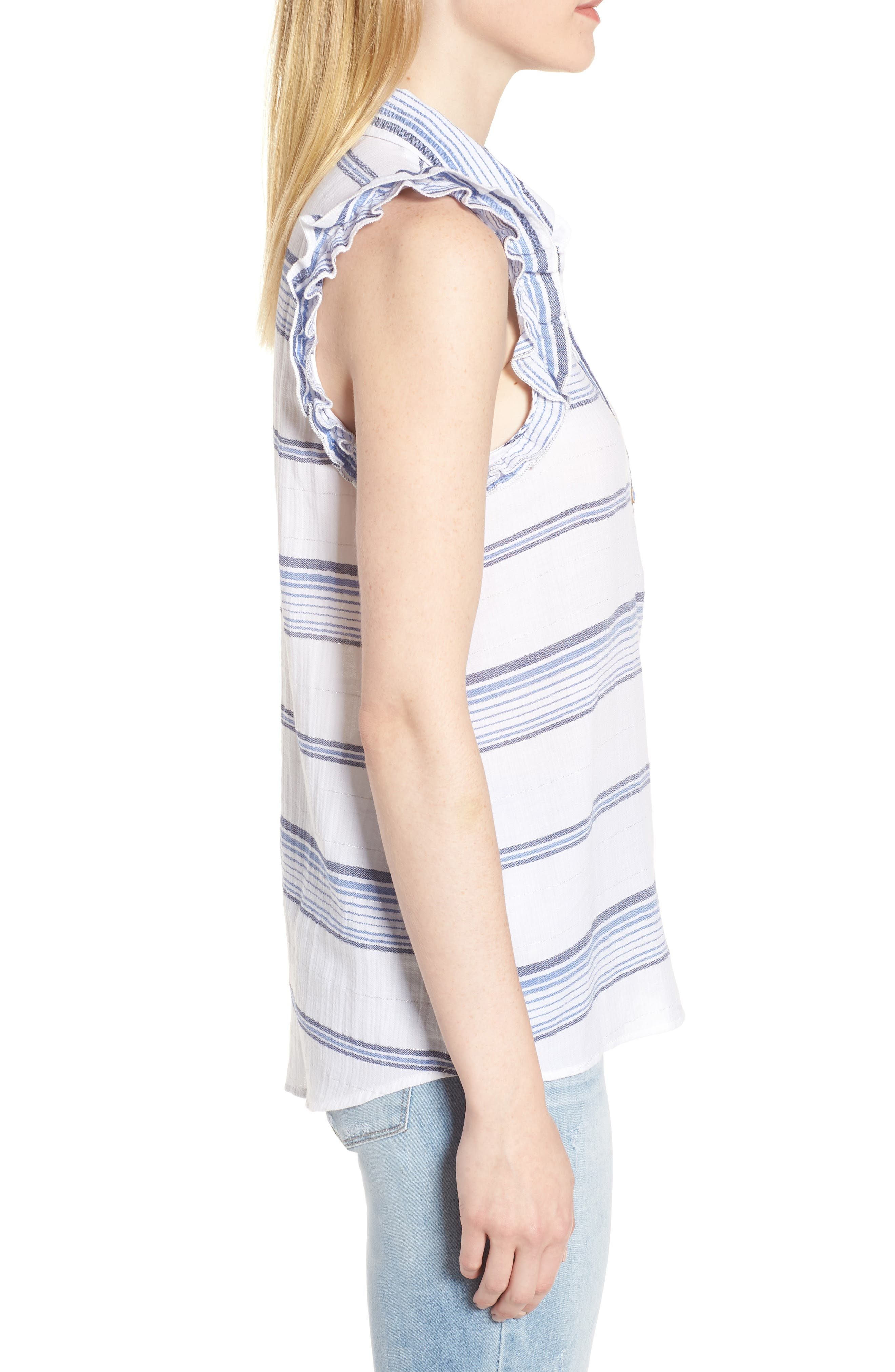 Ruffled Sleeve Striped Top,                             Alternate thumbnail 3, color,                             Blue/ White