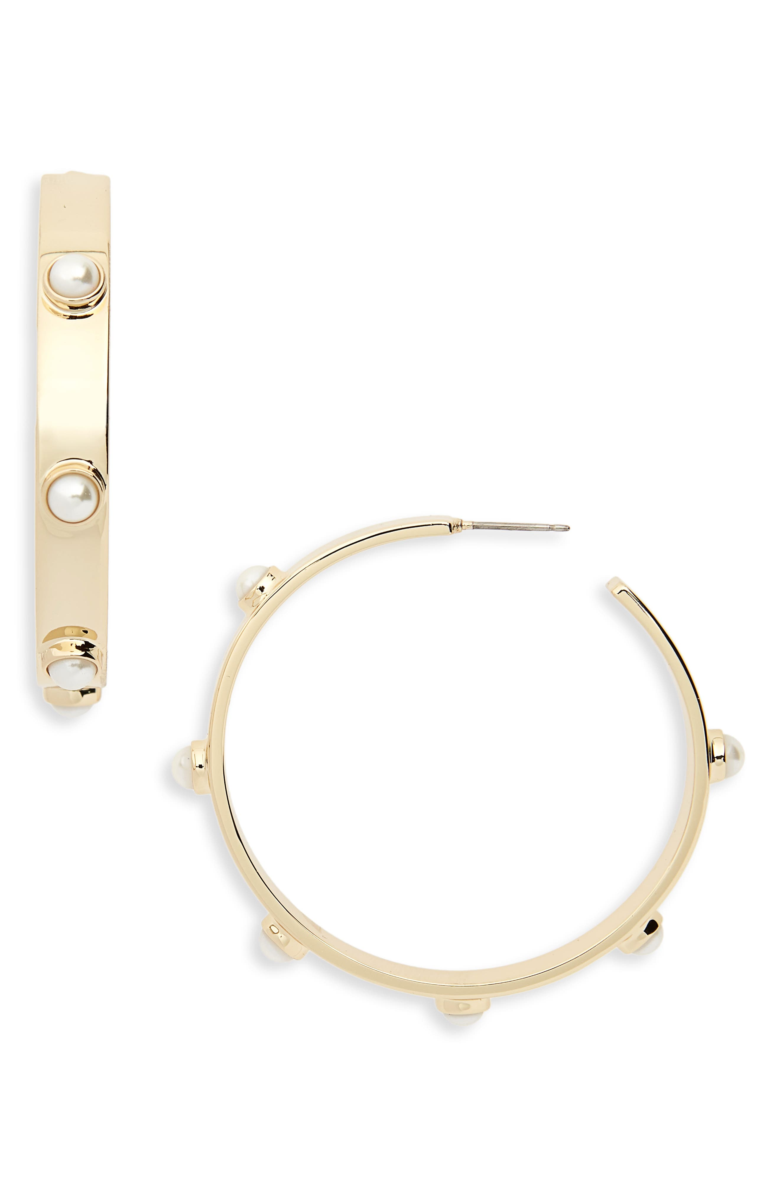 Stacked Studded Imitation Pearl Hoops,                             Main thumbnail 1, color,                             Tory Gold/ Pearl