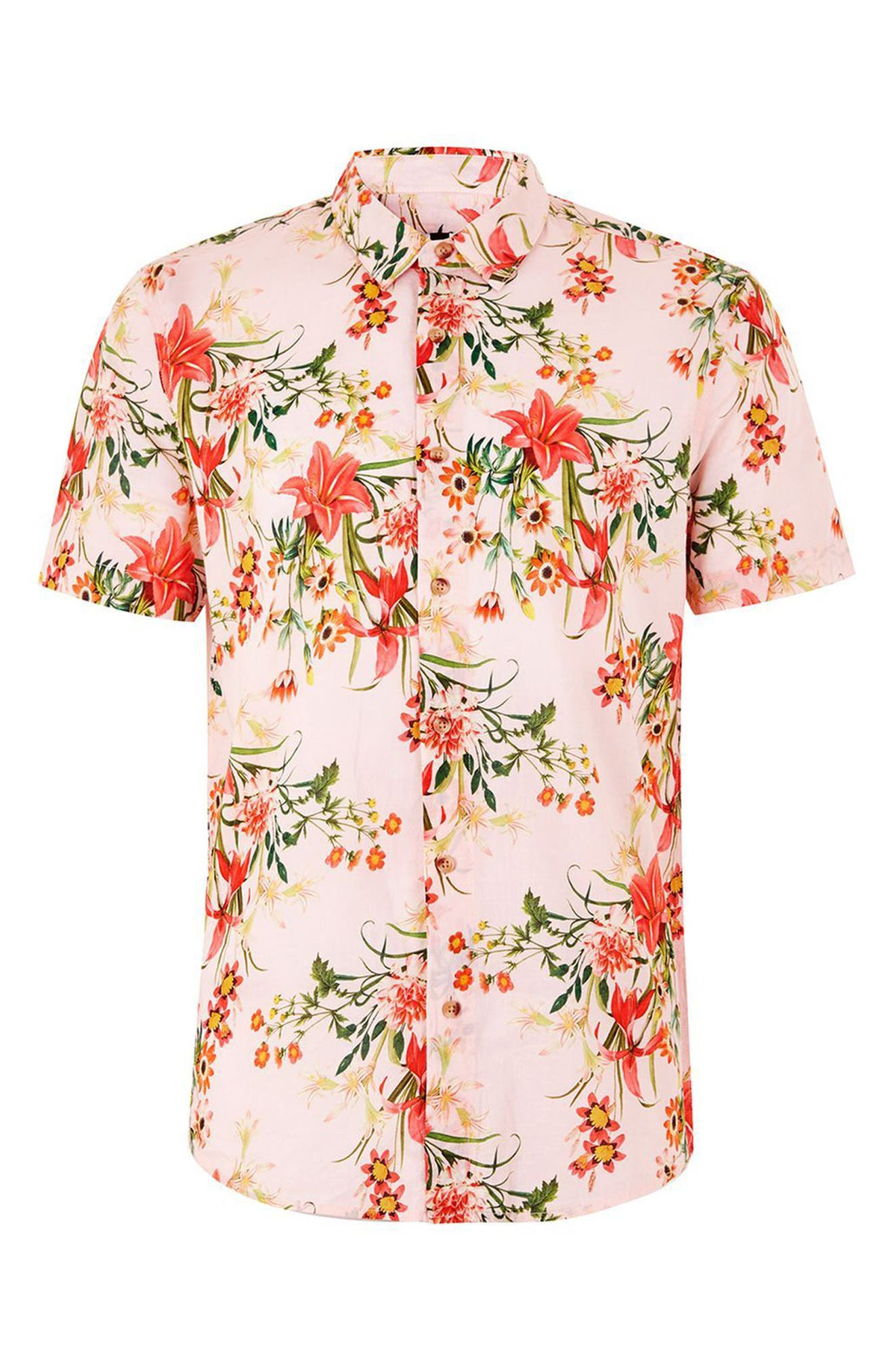 Classic Fit Floral Woven Shirt,                             Alternate thumbnail 4, color,                             Pink Multi