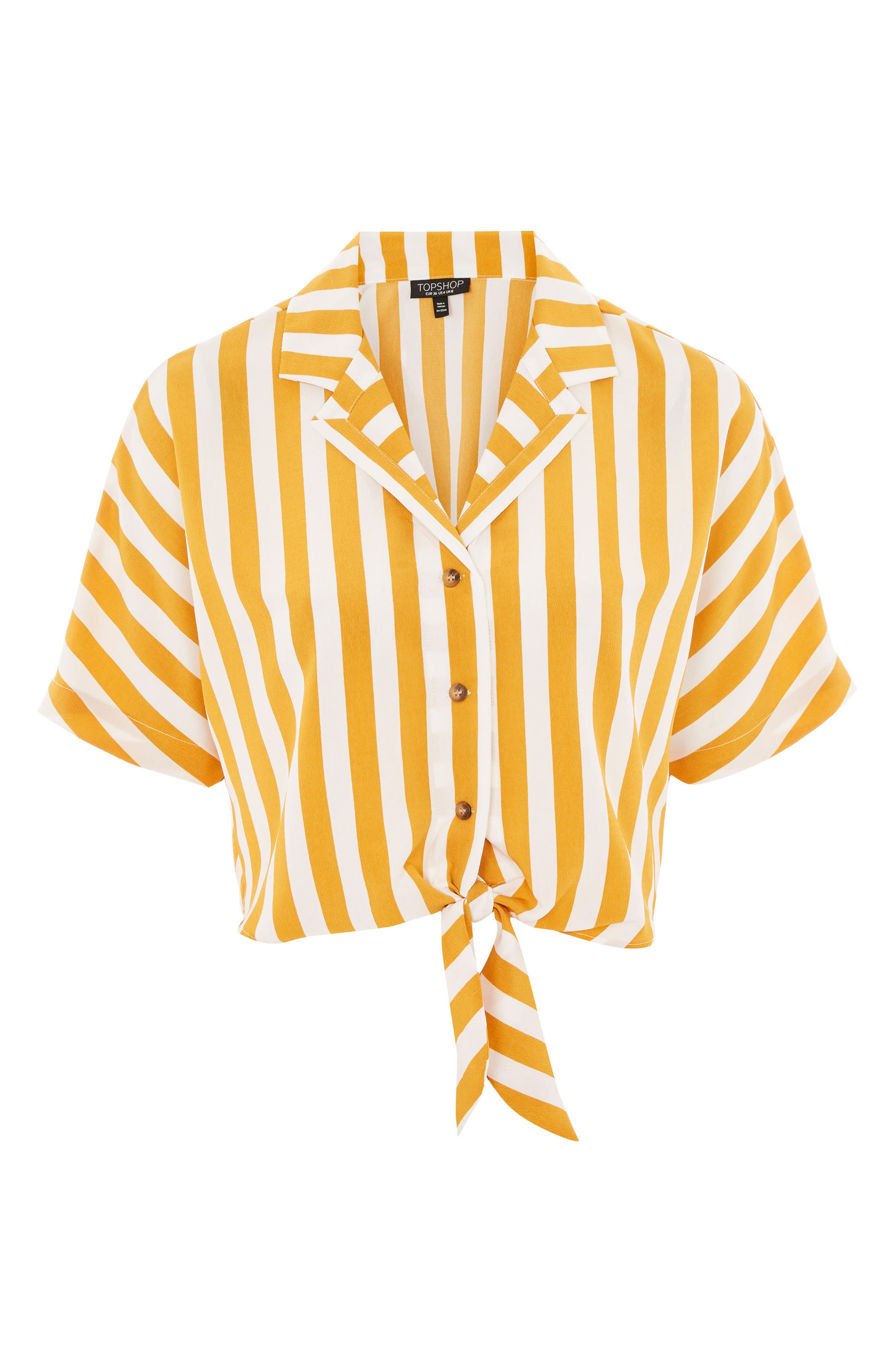 Stripe Tie Front Cropped Collar Shirt,                             Alternate thumbnail 4, color,                             Mustard Multi