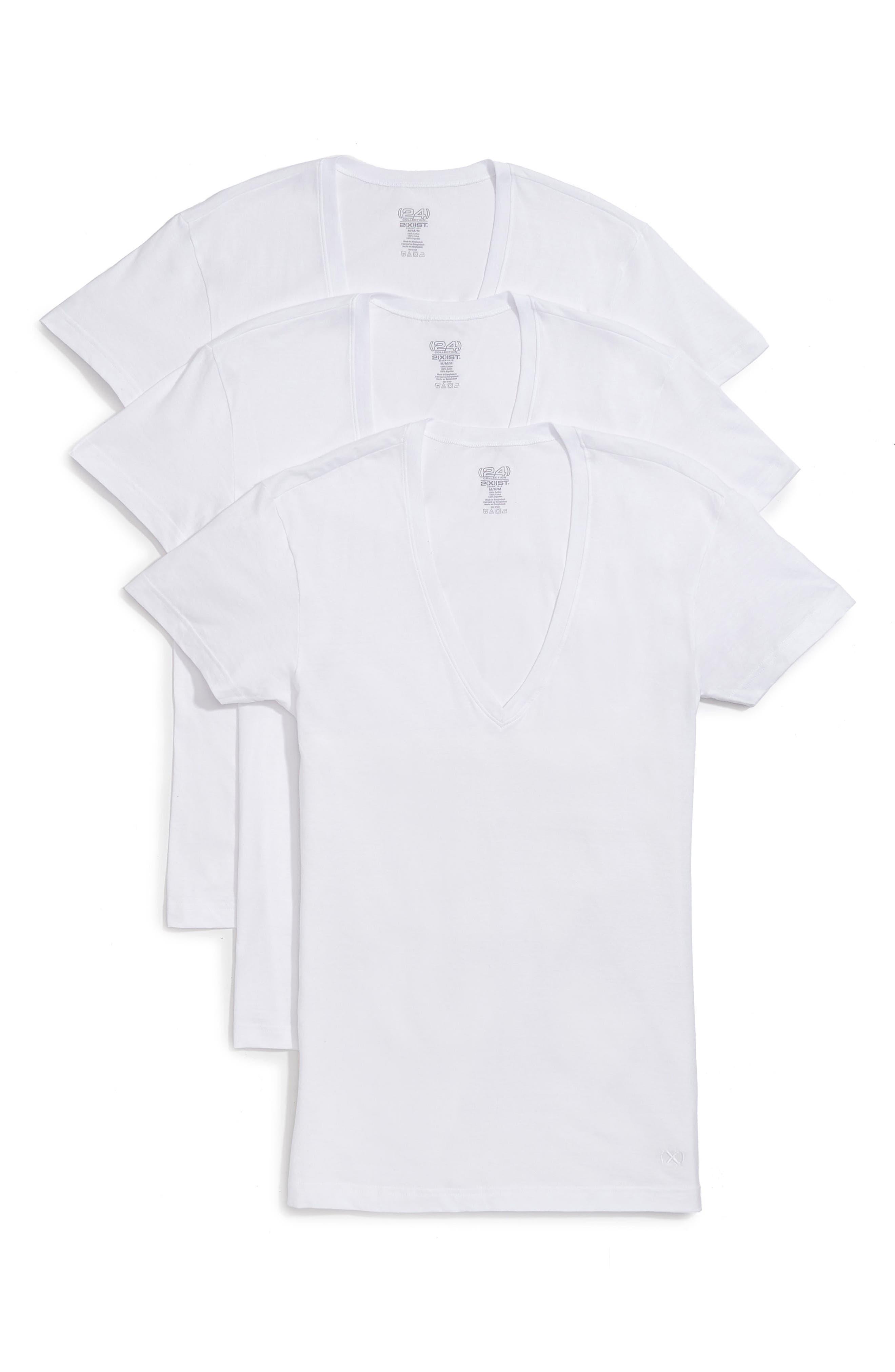 3-Pack Slim Fit Deep V-Neck T-Shirt,                         Main,                         color, White