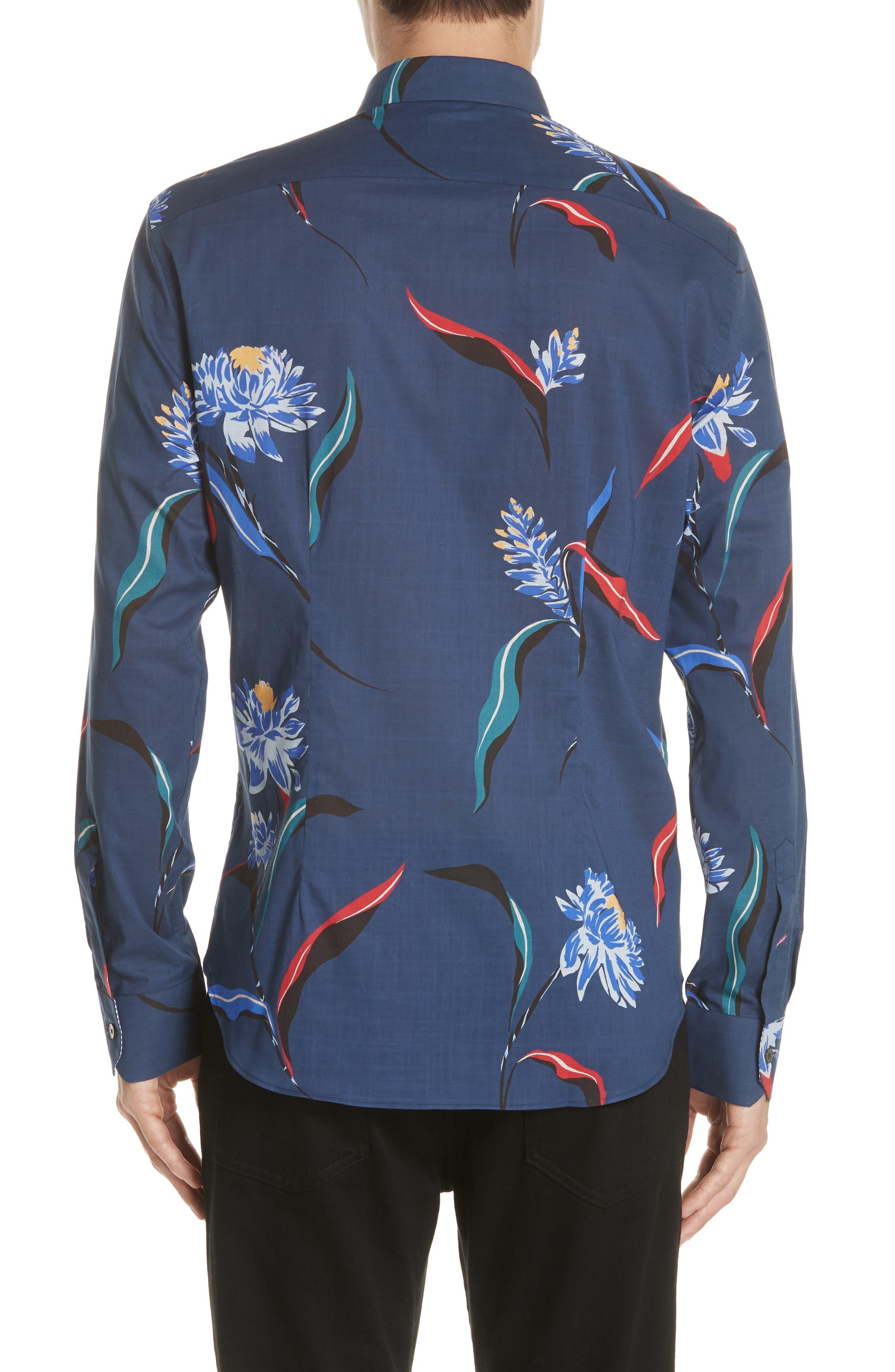 Floral Woven Shirt,                             Alternate thumbnail 3, color,                             03 Light Blue