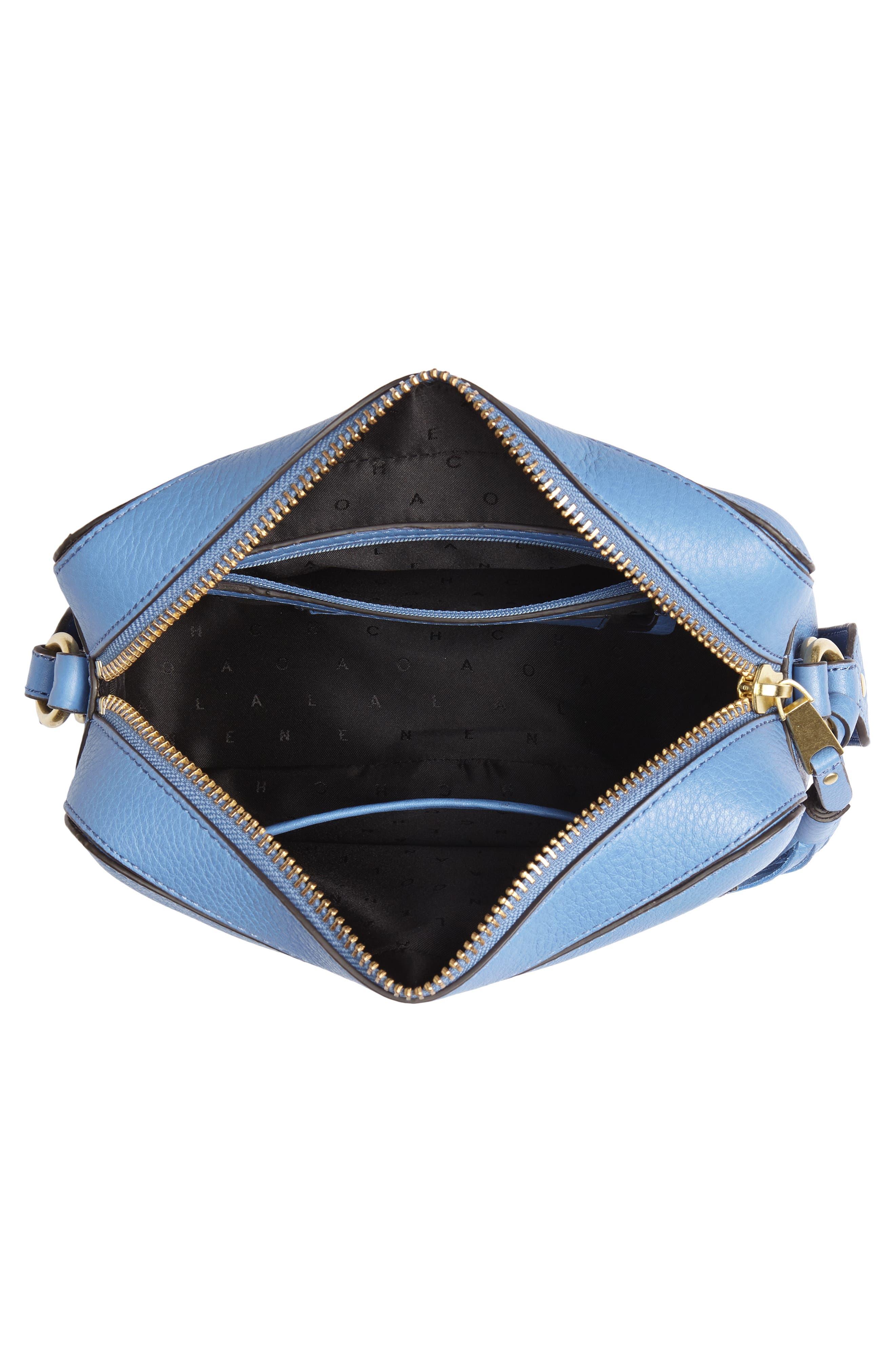 Cassidy RFID Pebbled Leather Camera Bag,                             Alternate thumbnail 6, color,                             Riverside