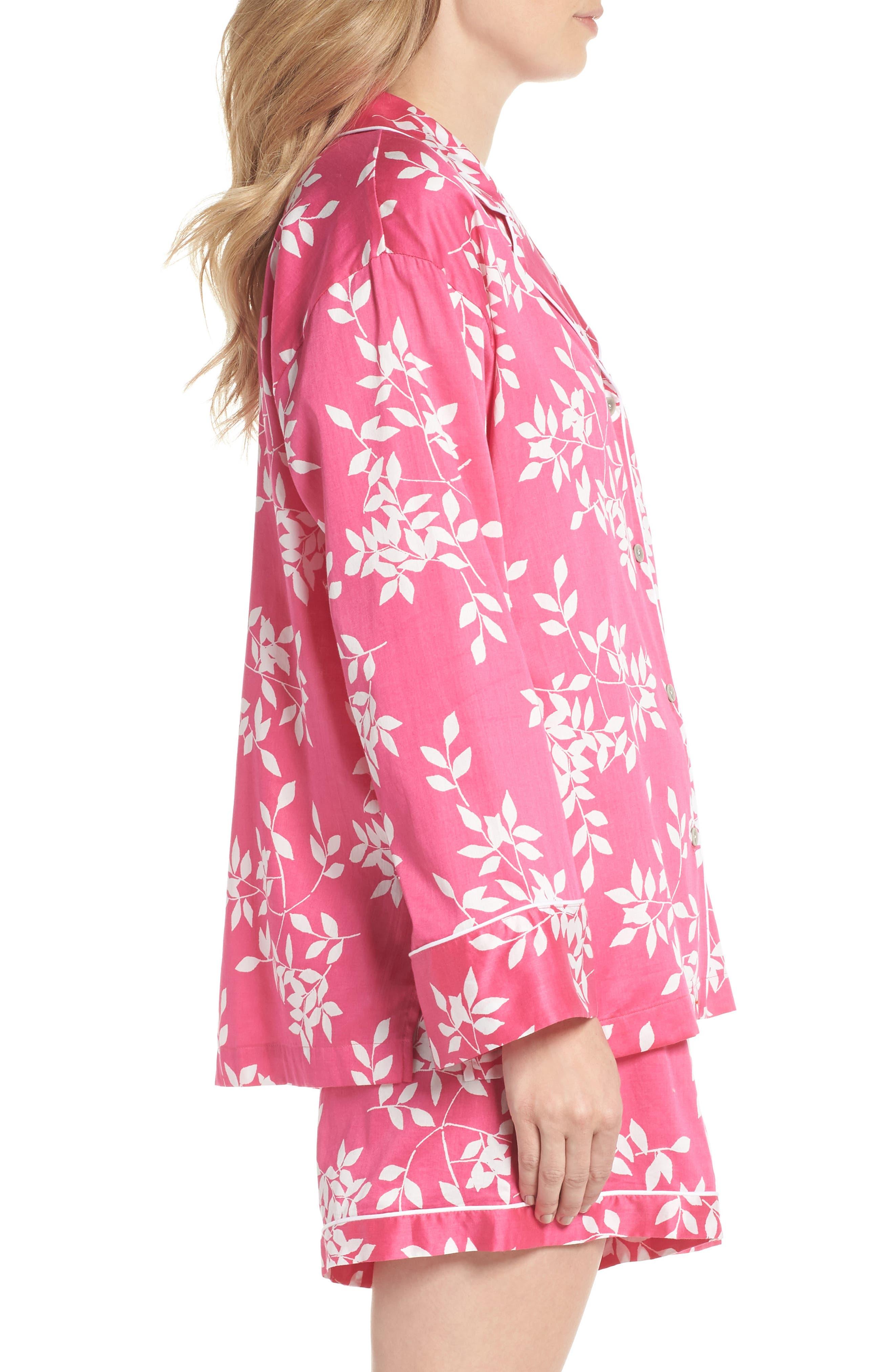 Branch Print Cotton Sateen Short Pajamas,                             Alternate thumbnail 3, color,                             Hibiscus Pink