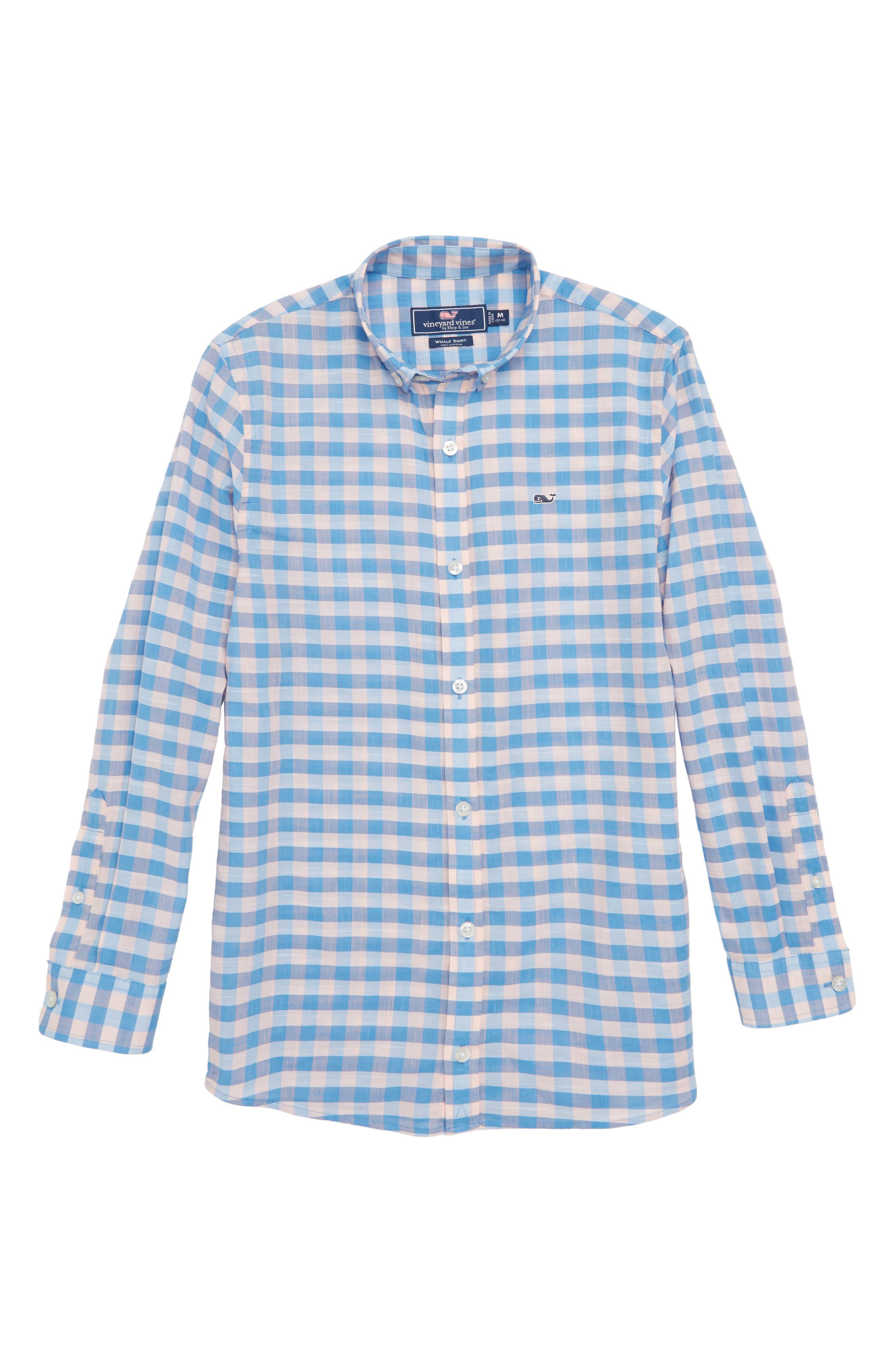 Pelican Cay Beach Check Woven Shirt,                             Main thumbnail 1, color,                             Peachy