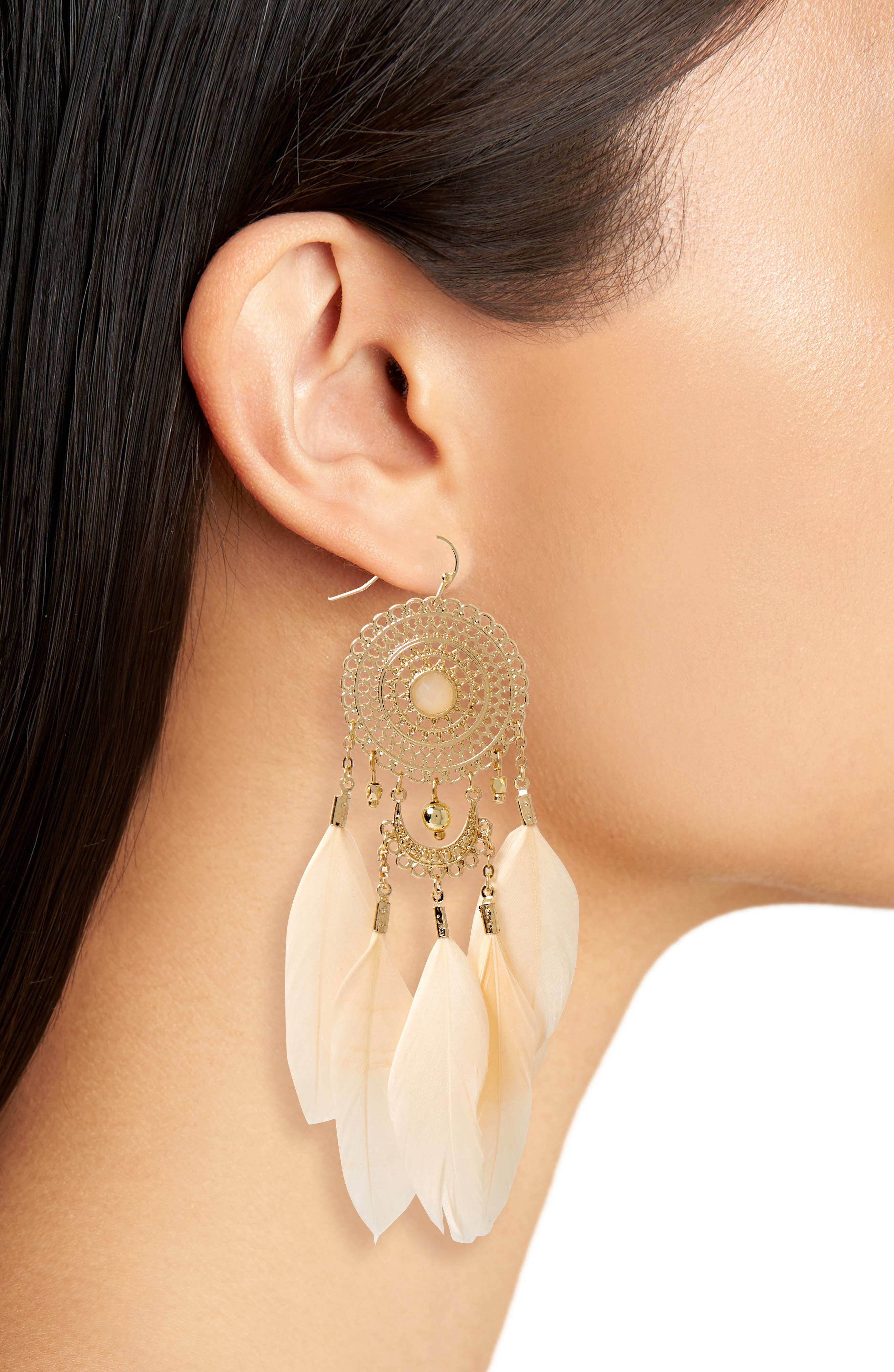 Feather Drop Earrings,                             Alternate thumbnail 2, color,                             Gold/ Blush