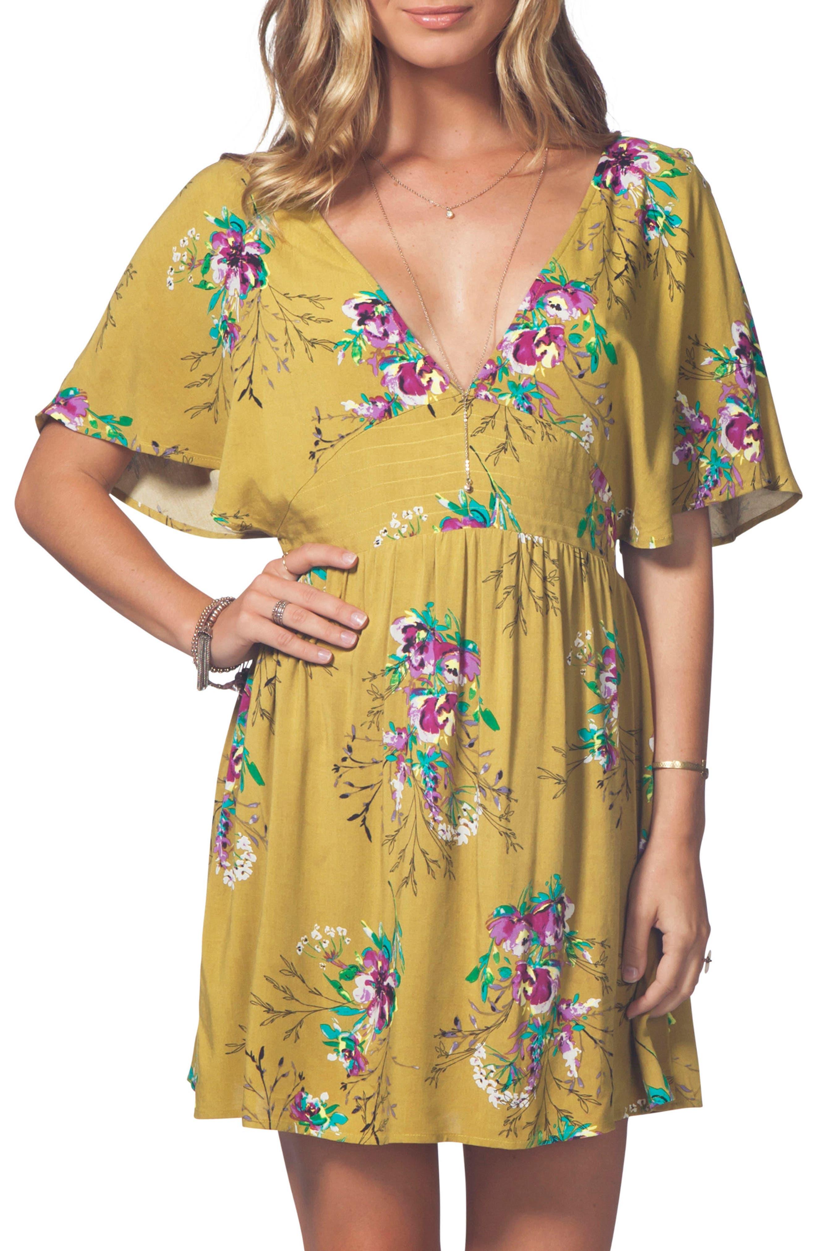 Sweet Nothing Print Dress,                             Main thumbnail 1, color,                             Mustard