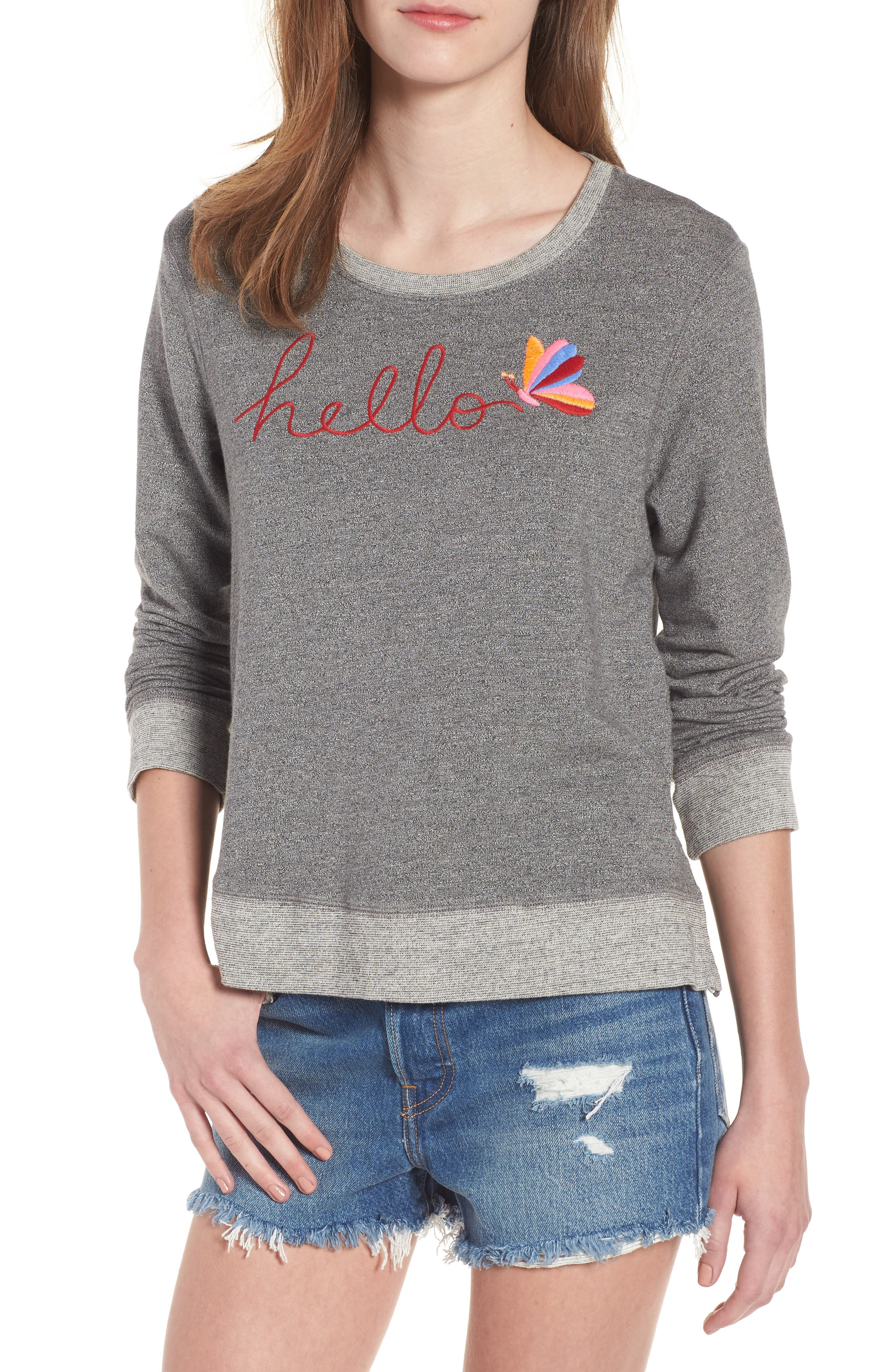 Hello Embroidered Double Zip Pullover,                         Main,                         color, Heather Grey