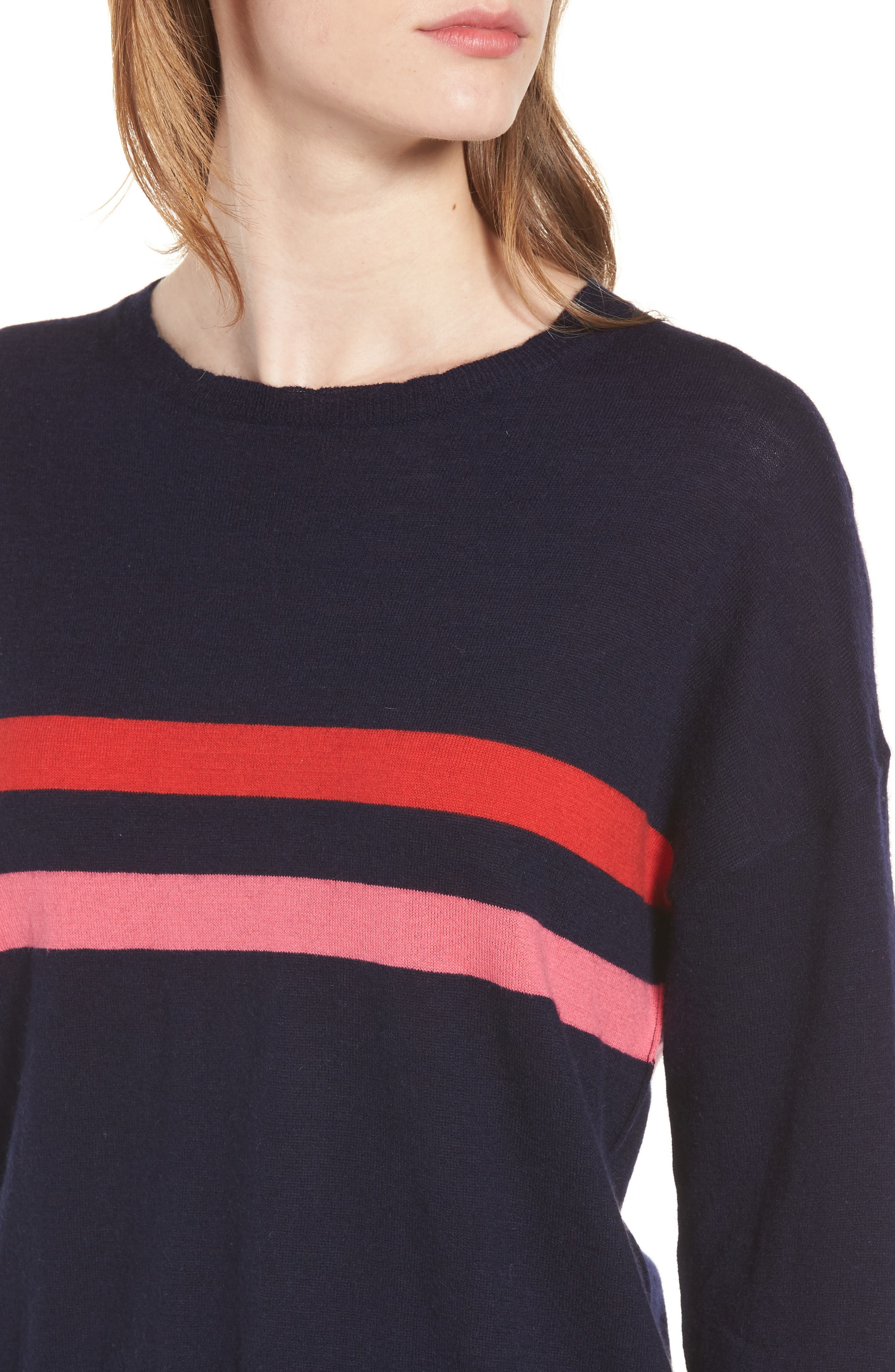 Stripe Wool & Cashmere Sweater,                             Alternate thumbnail 4, color,                             Navy