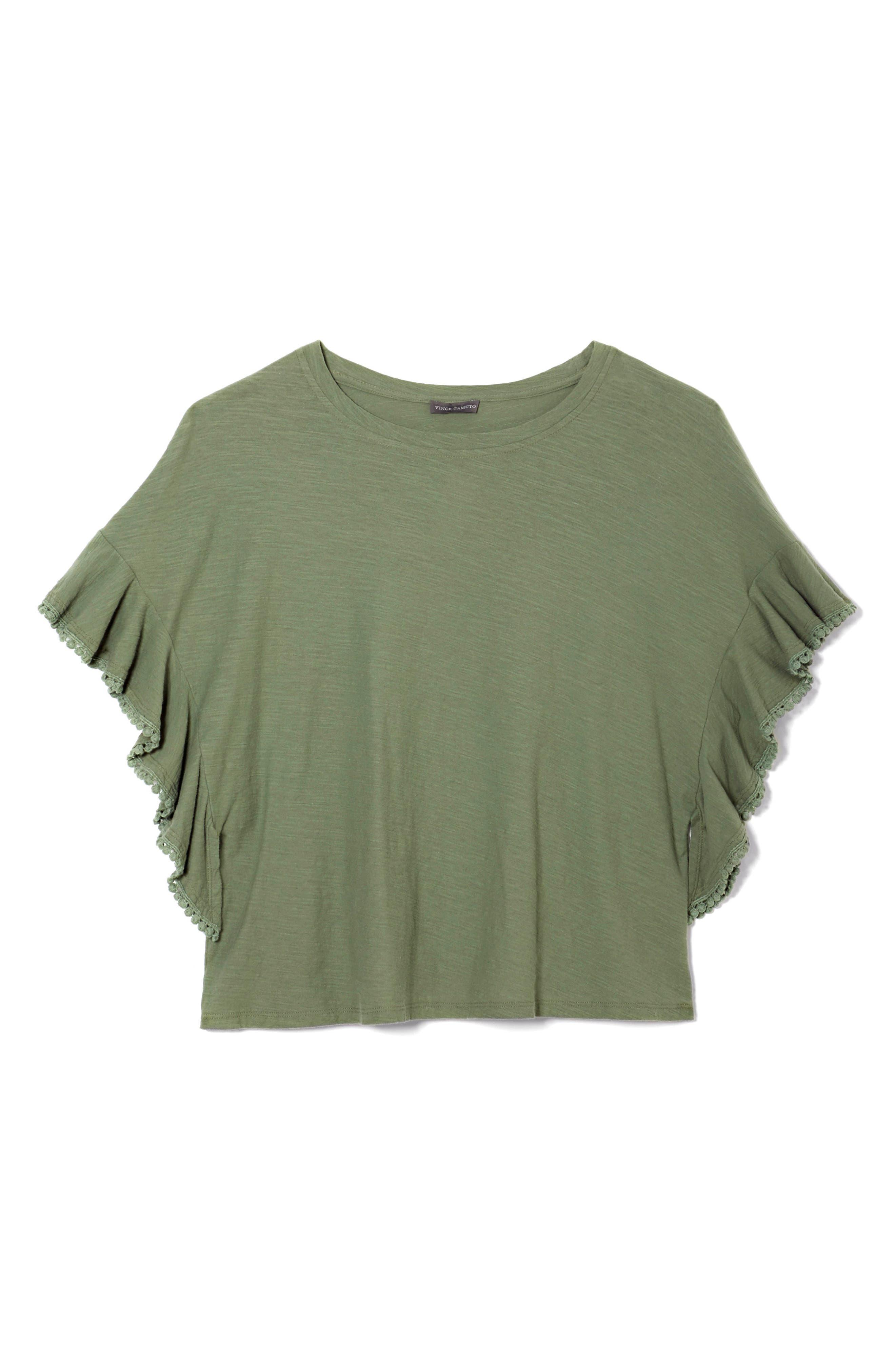 Ruffle Sleeve Tee,                             Alternate thumbnail 3, color,                             Canopy Green