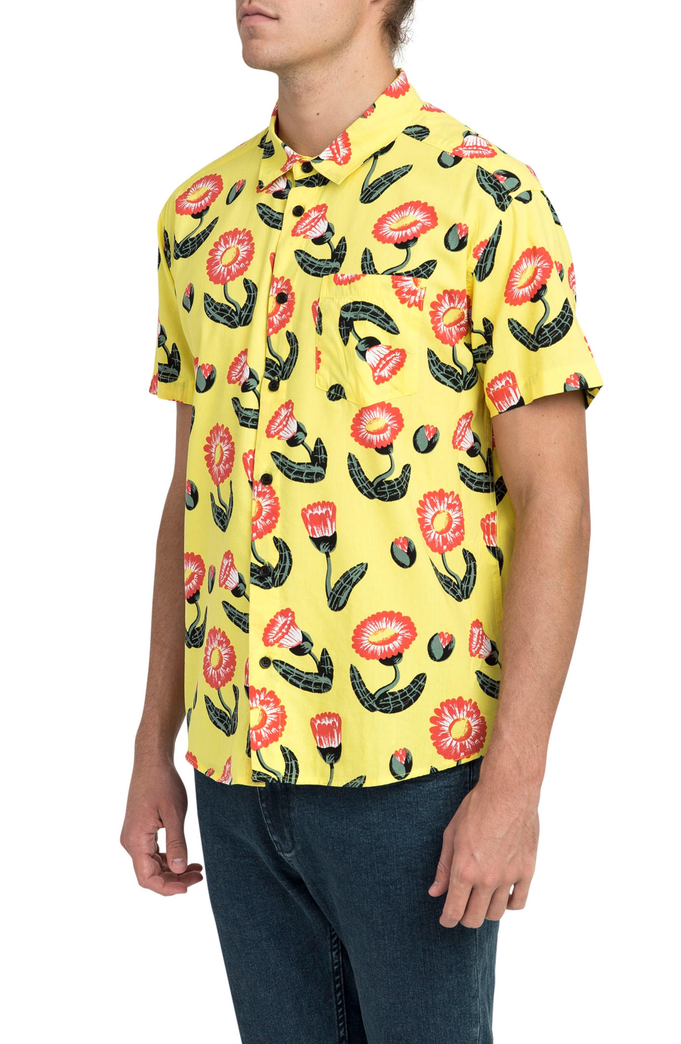 Pelletier Tropic Short Sleeve Shirt,                             Alternate thumbnail 3, color,                             Yellow