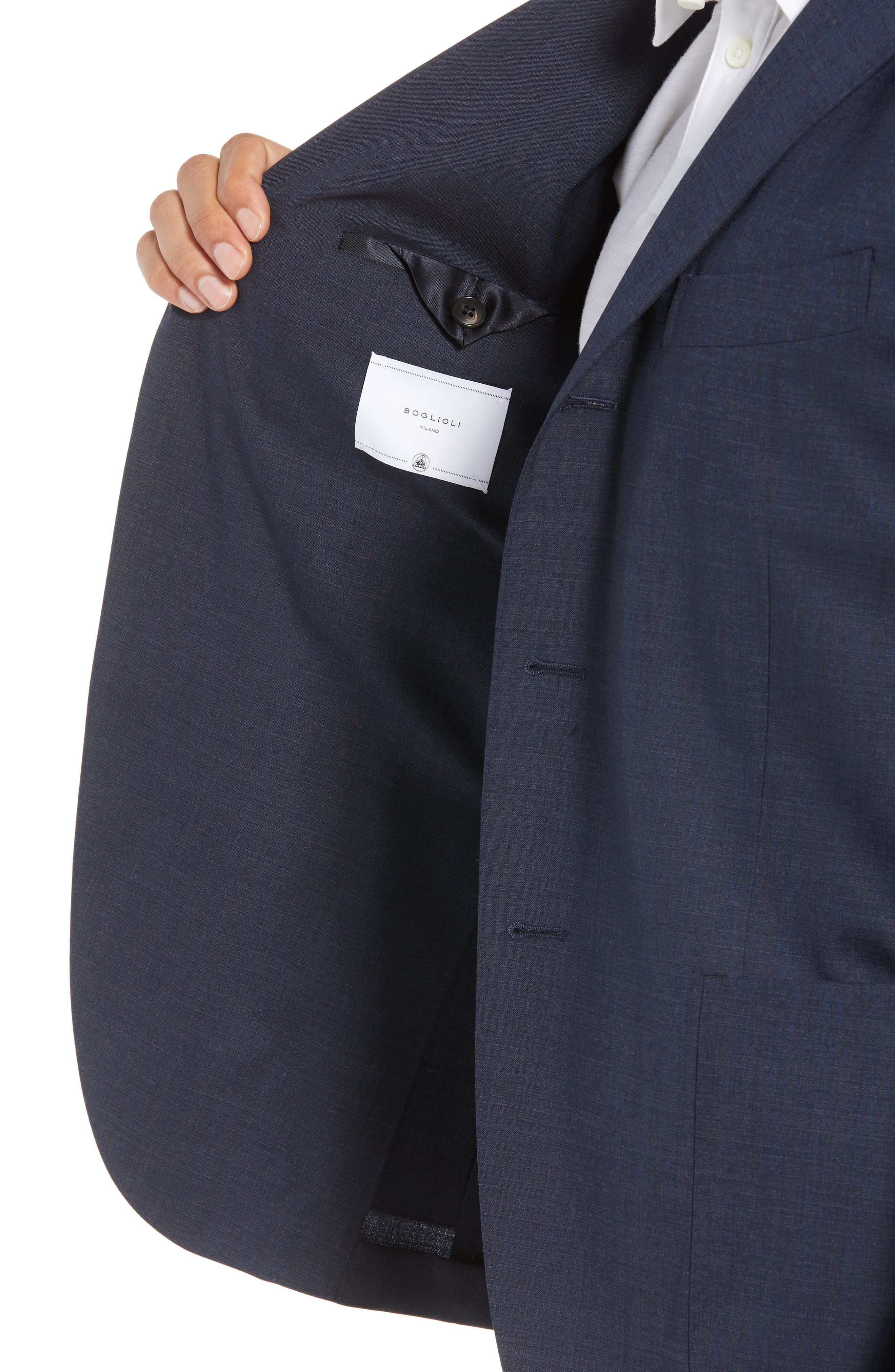 Trim Fit Stretch Solid Wool Suit,                             Alternate thumbnail 5, color,                             Navy