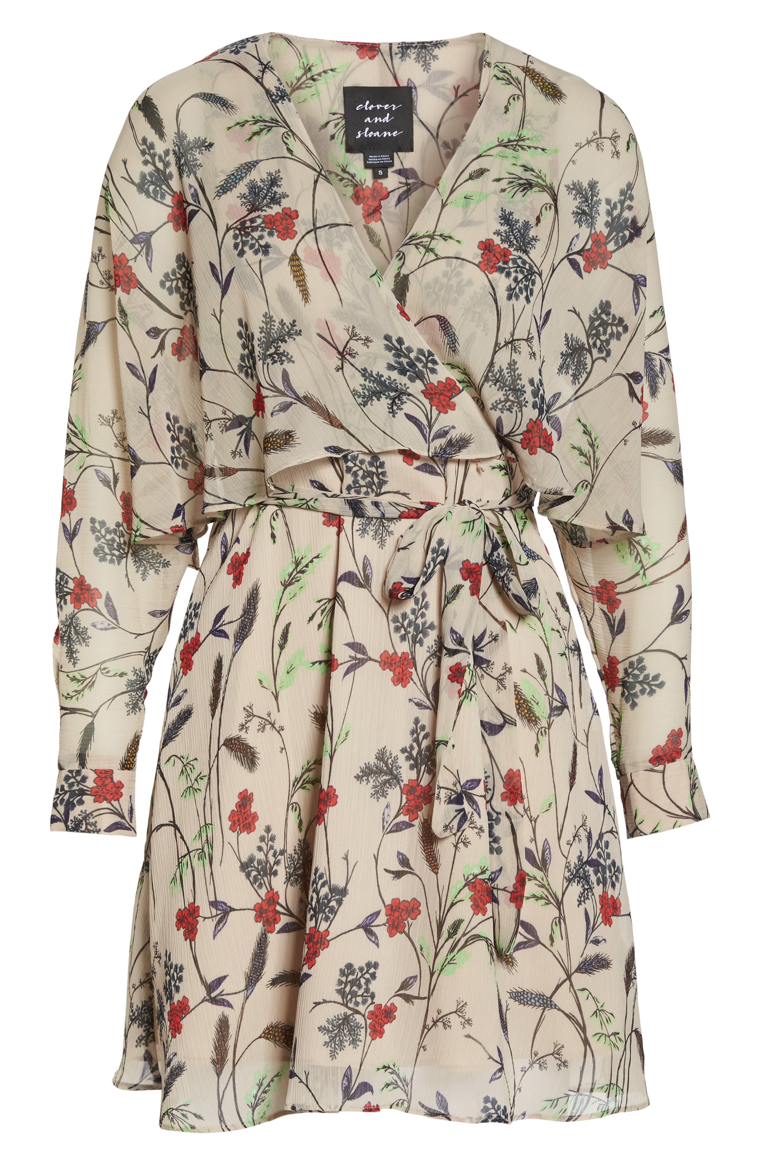 Yoryu Floral Chiffon Dress,                             Alternate thumbnail 7, color,                             Beige/ Red