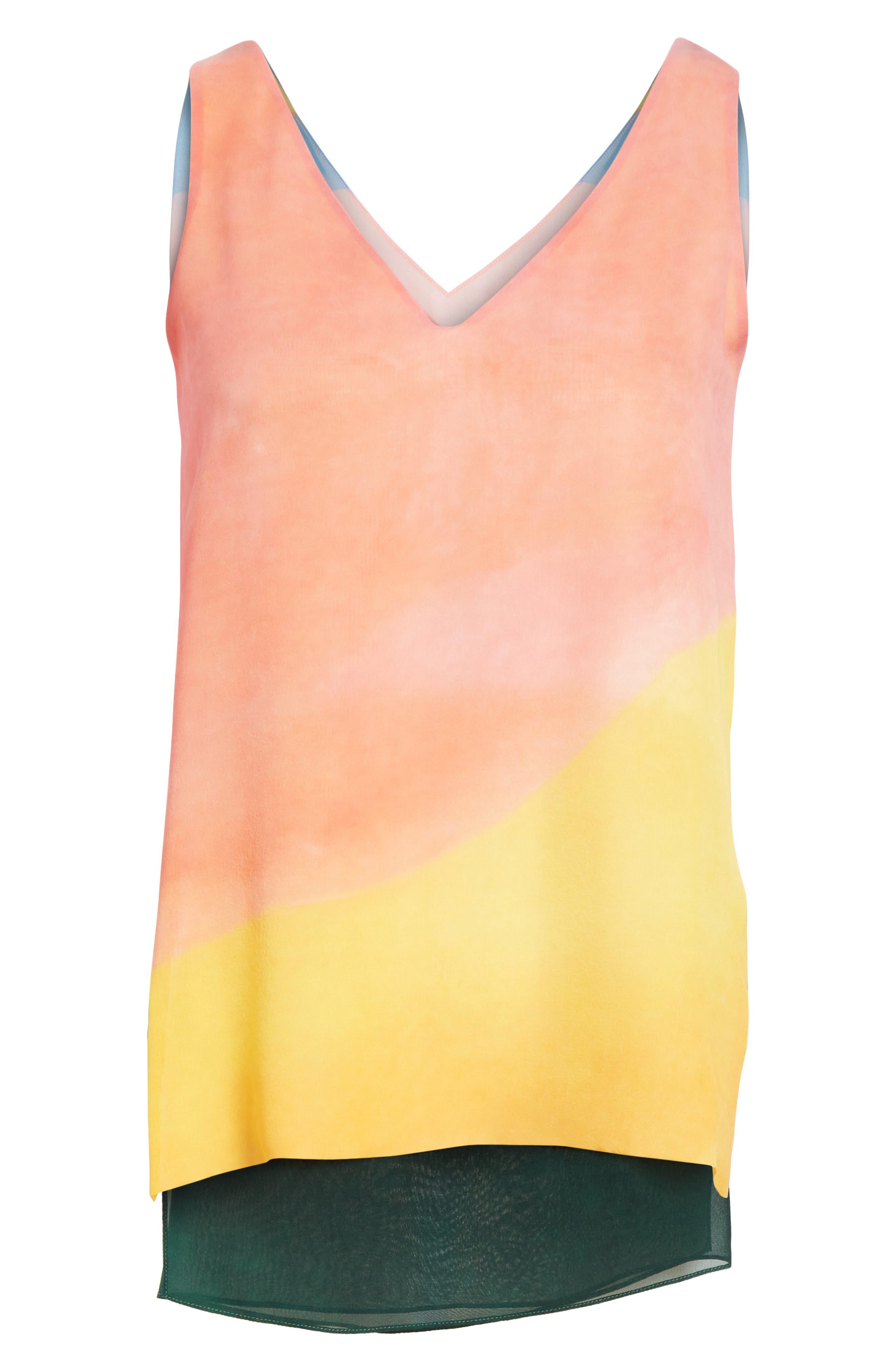 Watercolor Silk Georgette Tank,                             Alternate thumbnail 7, color,                             Multi
