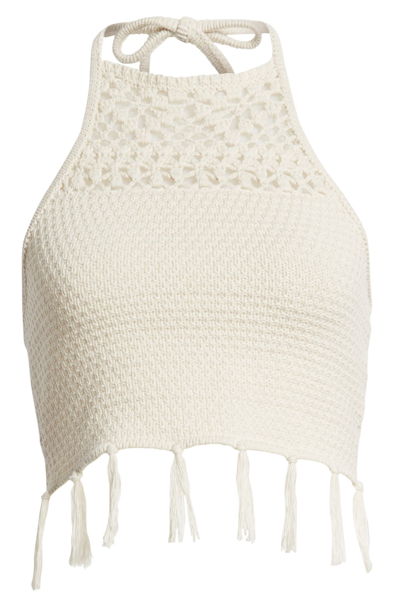 Fringe Sweater Halter Top,                             Alternate thumbnail 7, color,                             Stone Oatmeal Marl