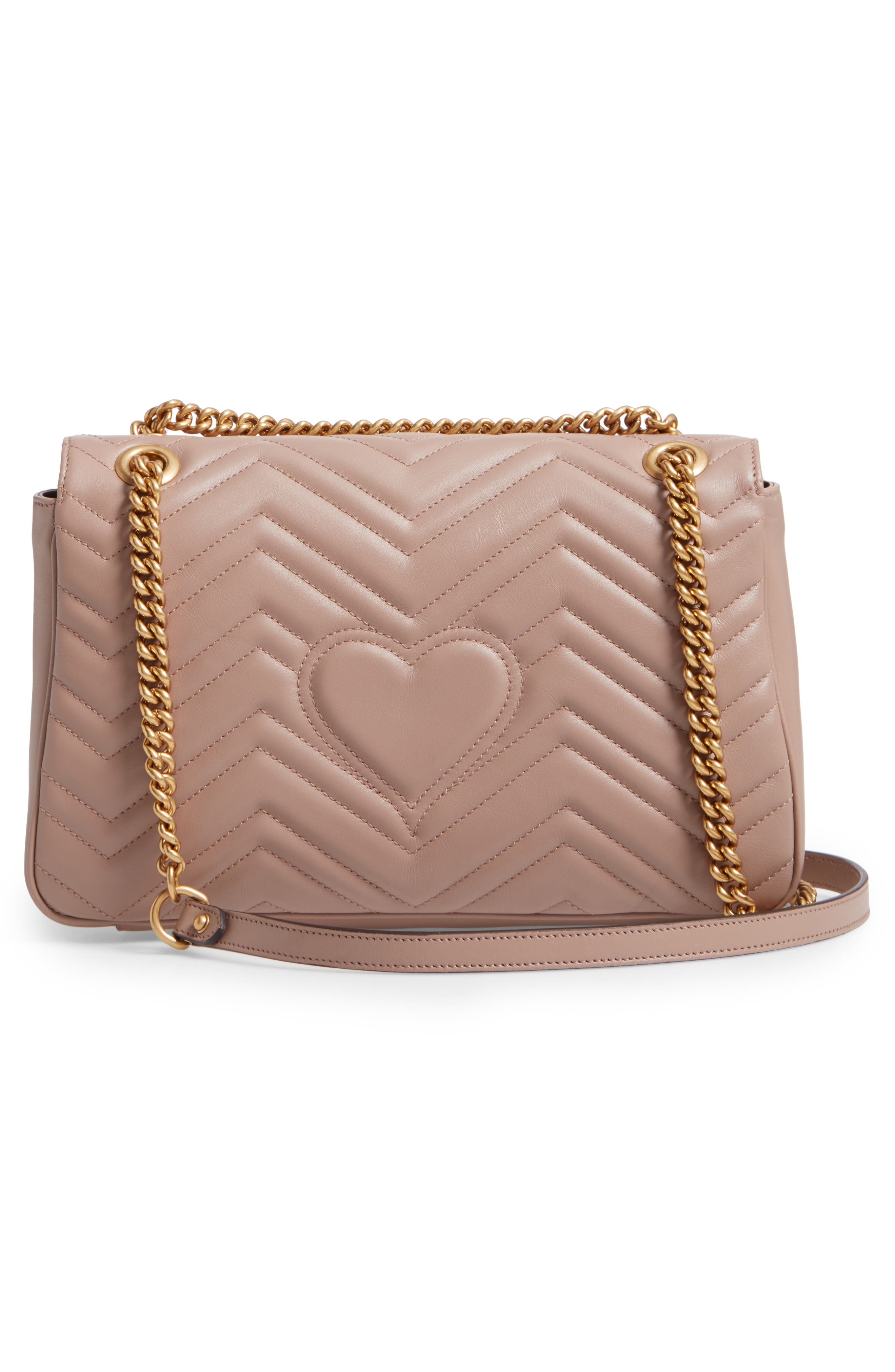 Medium GG Marmont 2.0 Matelassé Leather Shoulder Bag,                             Alternate thumbnail 3, color,                             Porcelain Rose