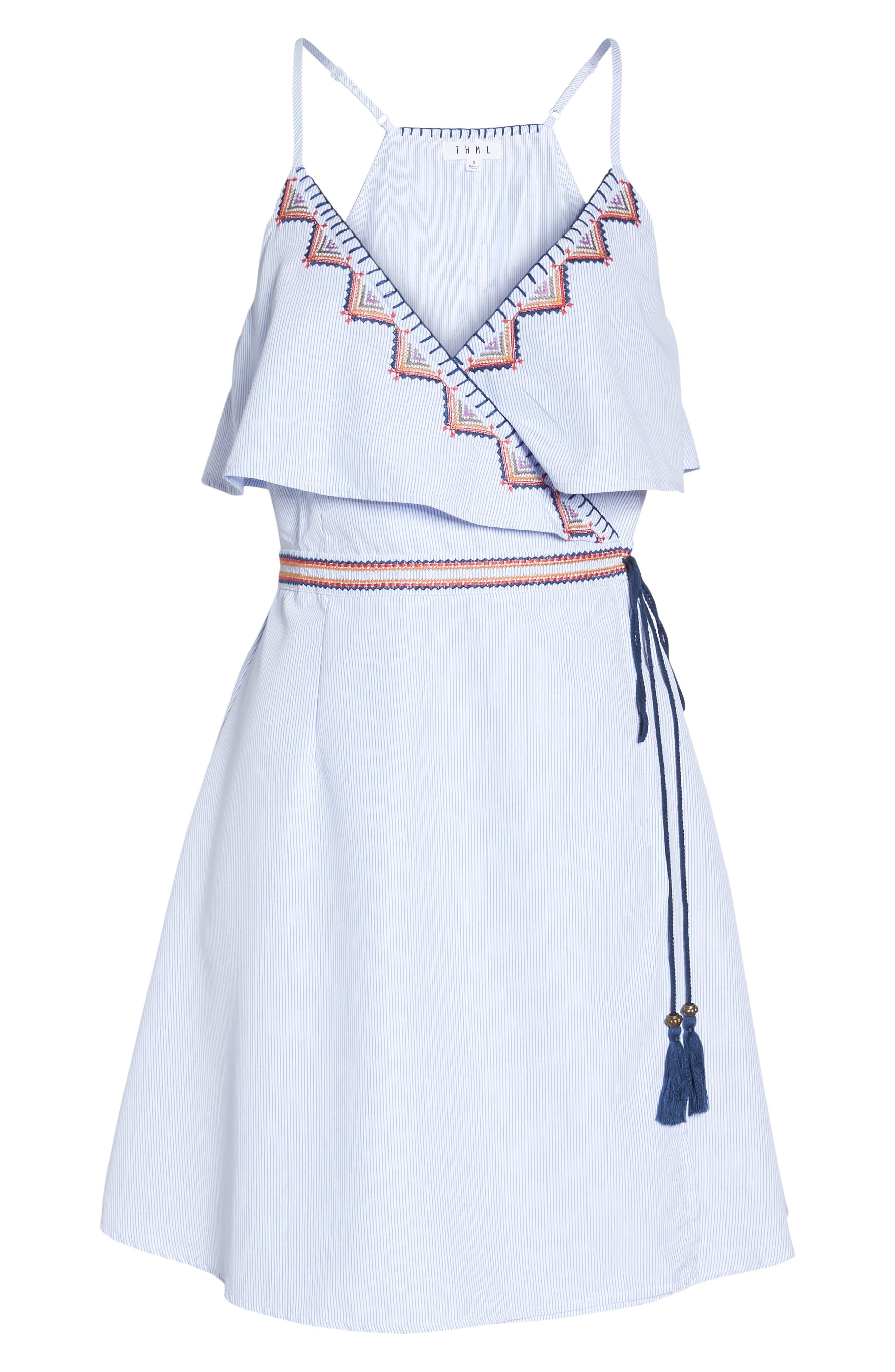 Stripe Wrap Dress,                             Alternate thumbnail 7, color,                             Blue
