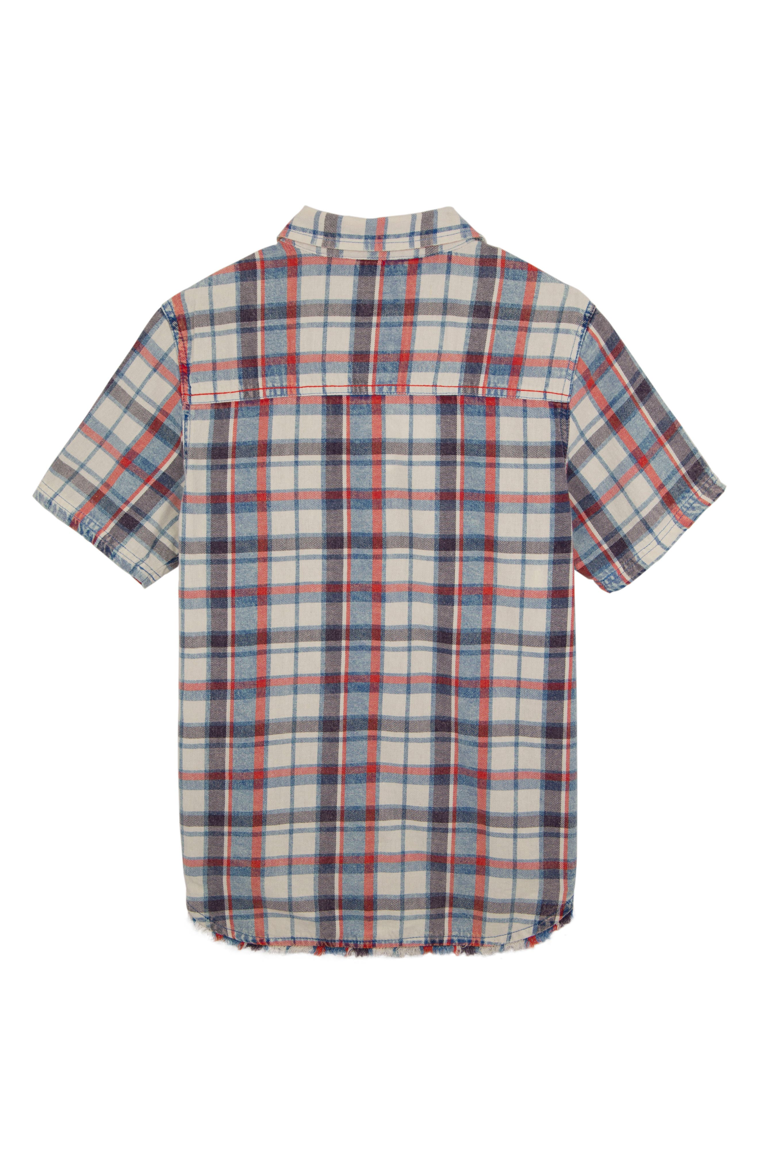 Connor Washed Plaid Chambray Shirt,                             Alternate thumbnail 2, color,                             White