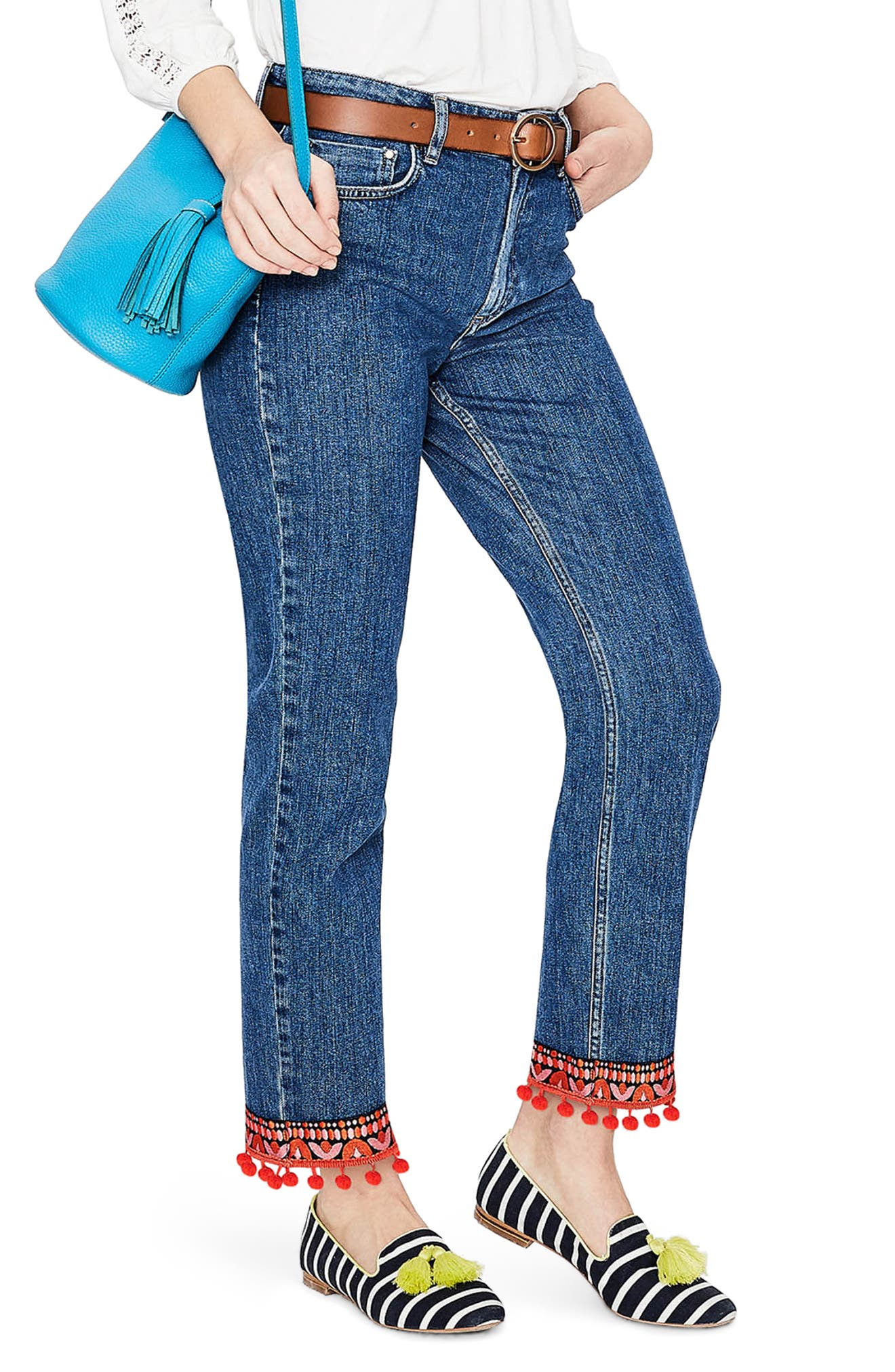 Cambridge Embellished Ankle Skimmer Jeans,                             Main thumbnail 1, color,                             Mid Vintage With Tri