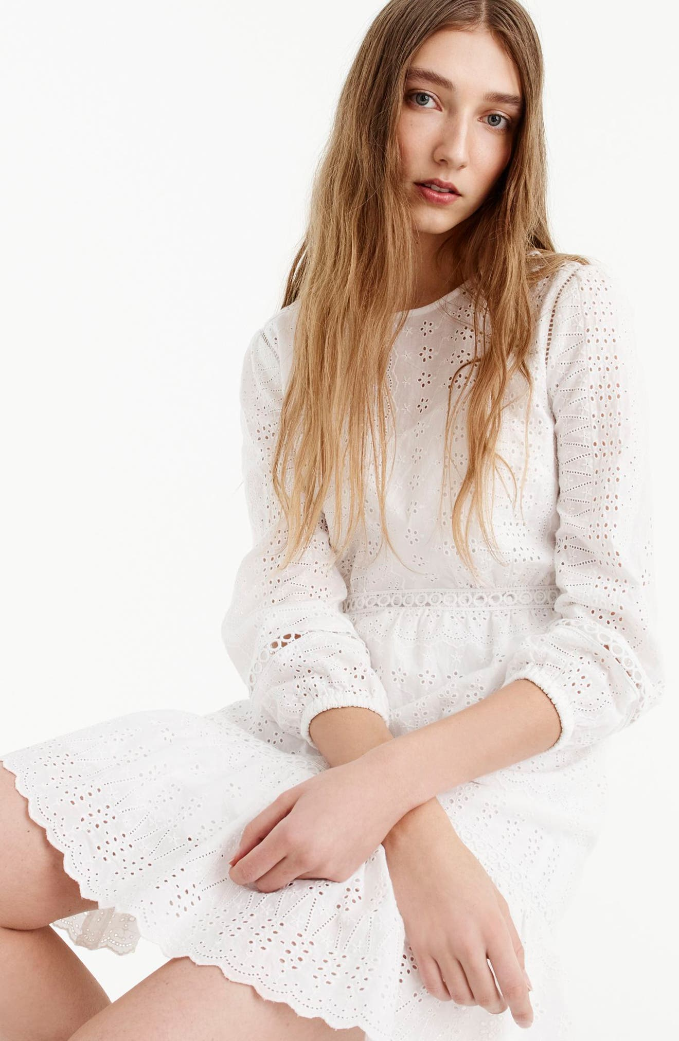Long Sleeve Embroidered Dress,                             Alternate thumbnail 5, color,                             White