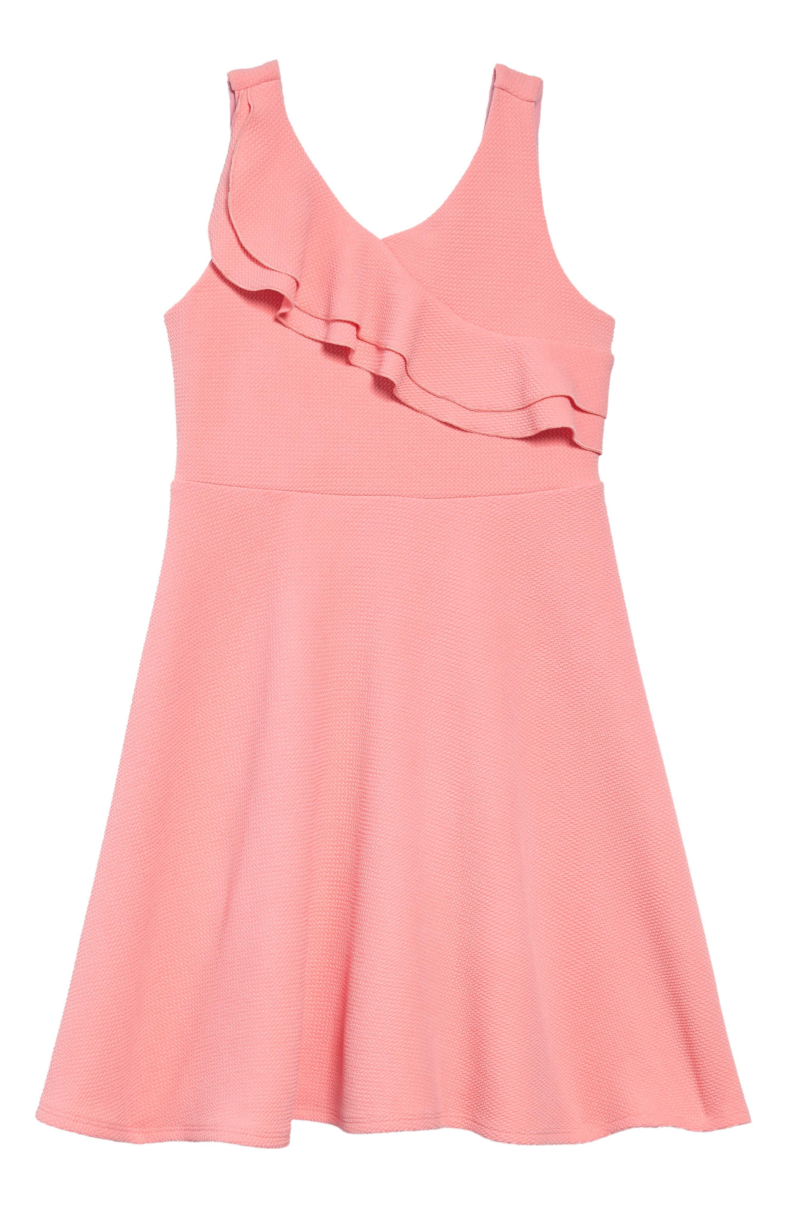 Double Ruffle Dress,                         Main,                         color, Peach