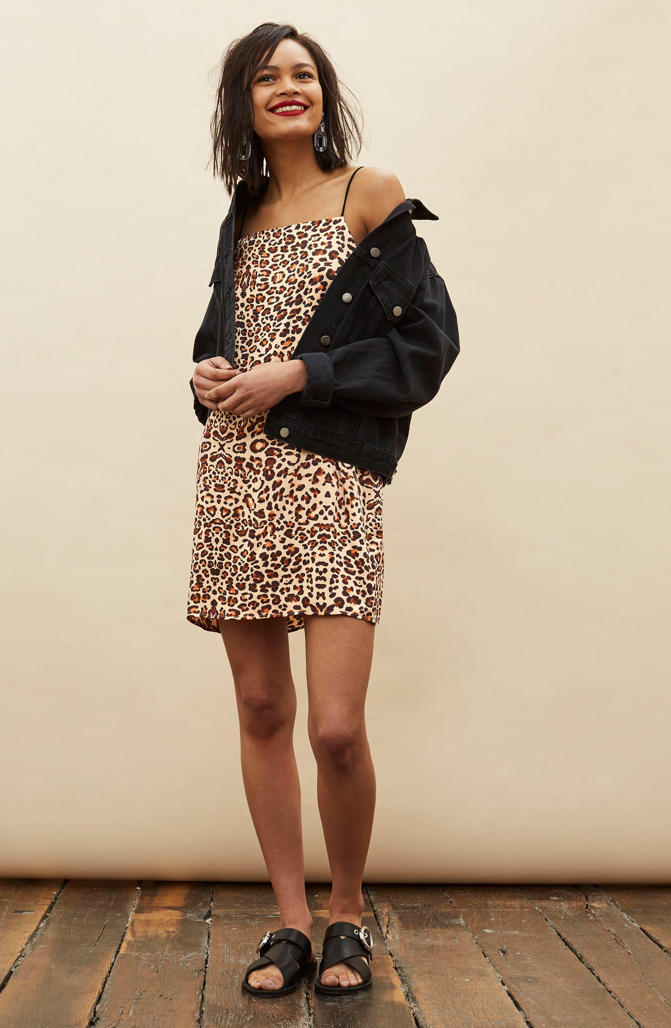 Leopard Mini Slipdress,                             Alternate thumbnail 2, color,                             Brown Multi