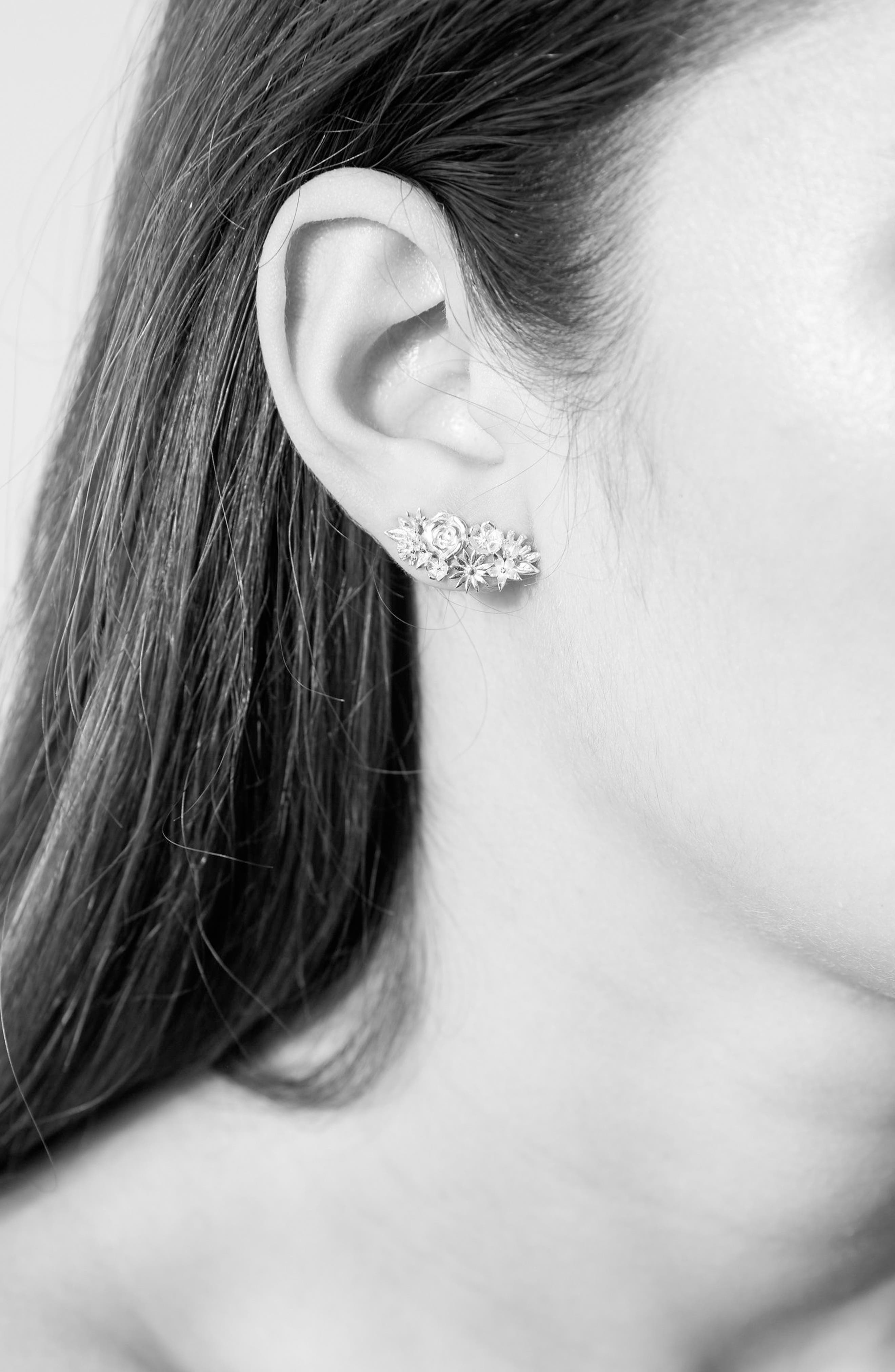 Overgrown Stud Earrings,                             Alternate thumbnail 2, color,                             Silver