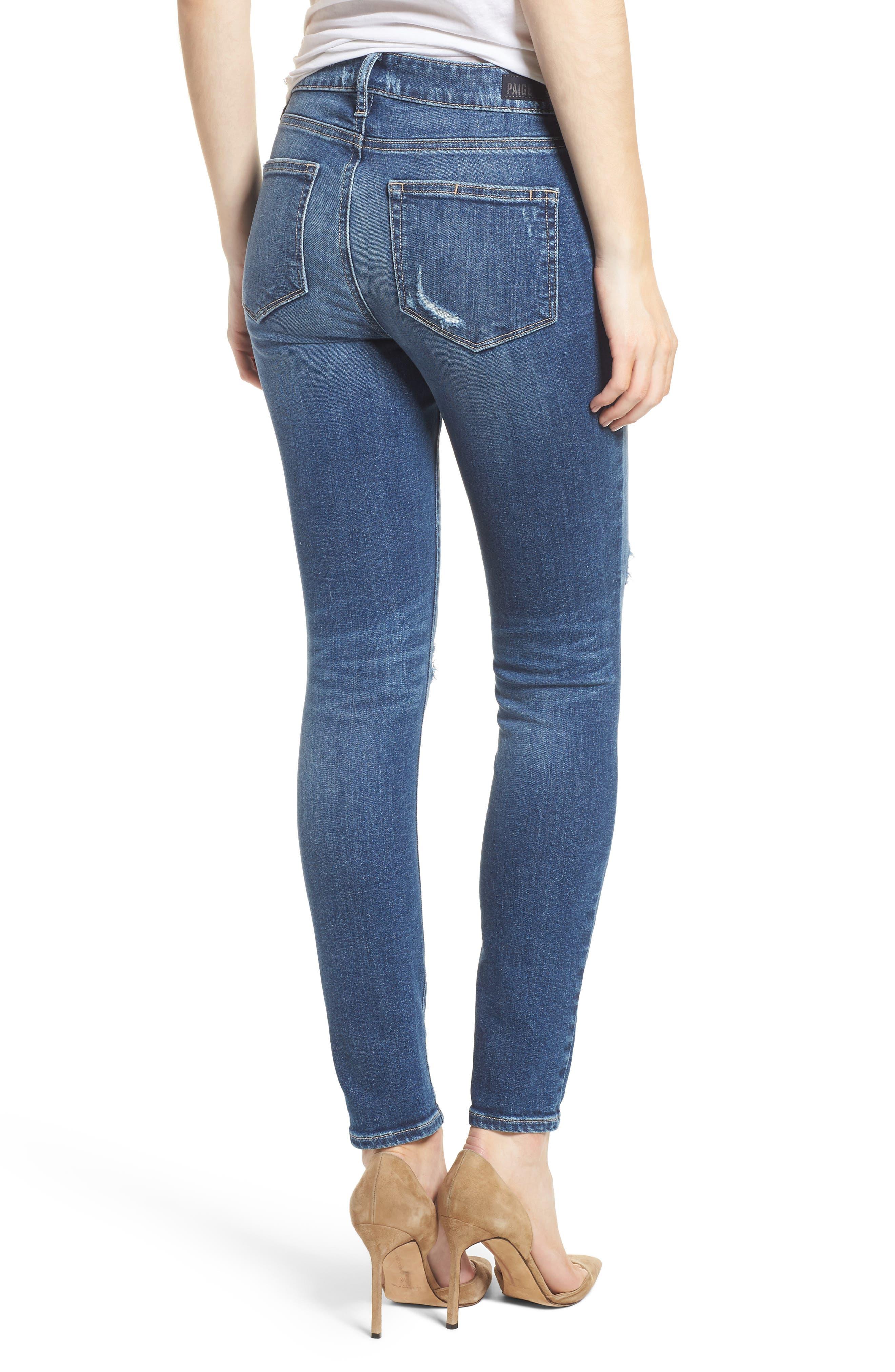 Transcend Vintage - Verdugo Ankle Skinny Jeans,                             Alternate thumbnail 2, color,                             Pico Destructed