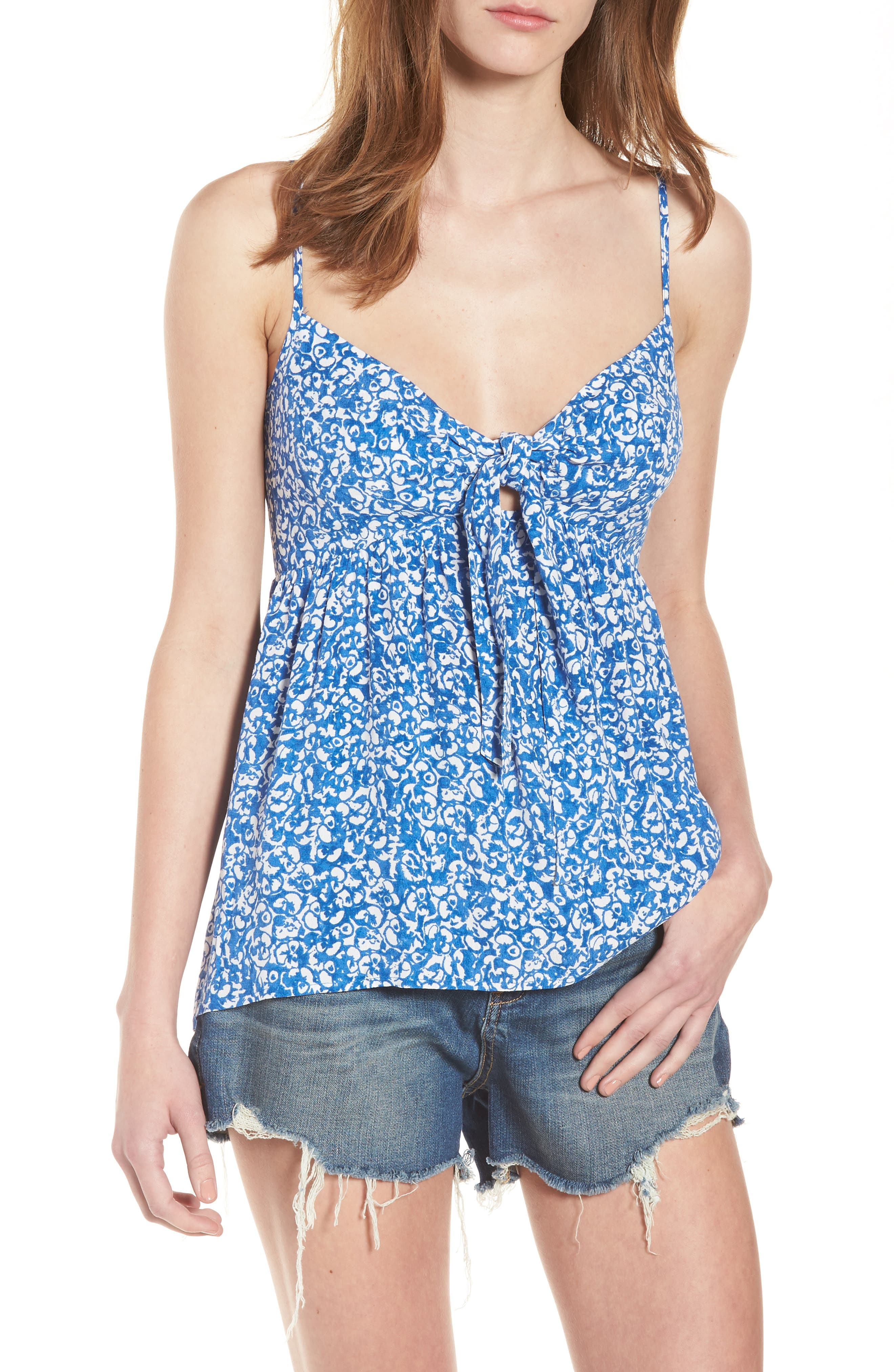 Print Tie Front Camisole,                             Main thumbnail 1, color,                             Blue Boat Lost Ditsy