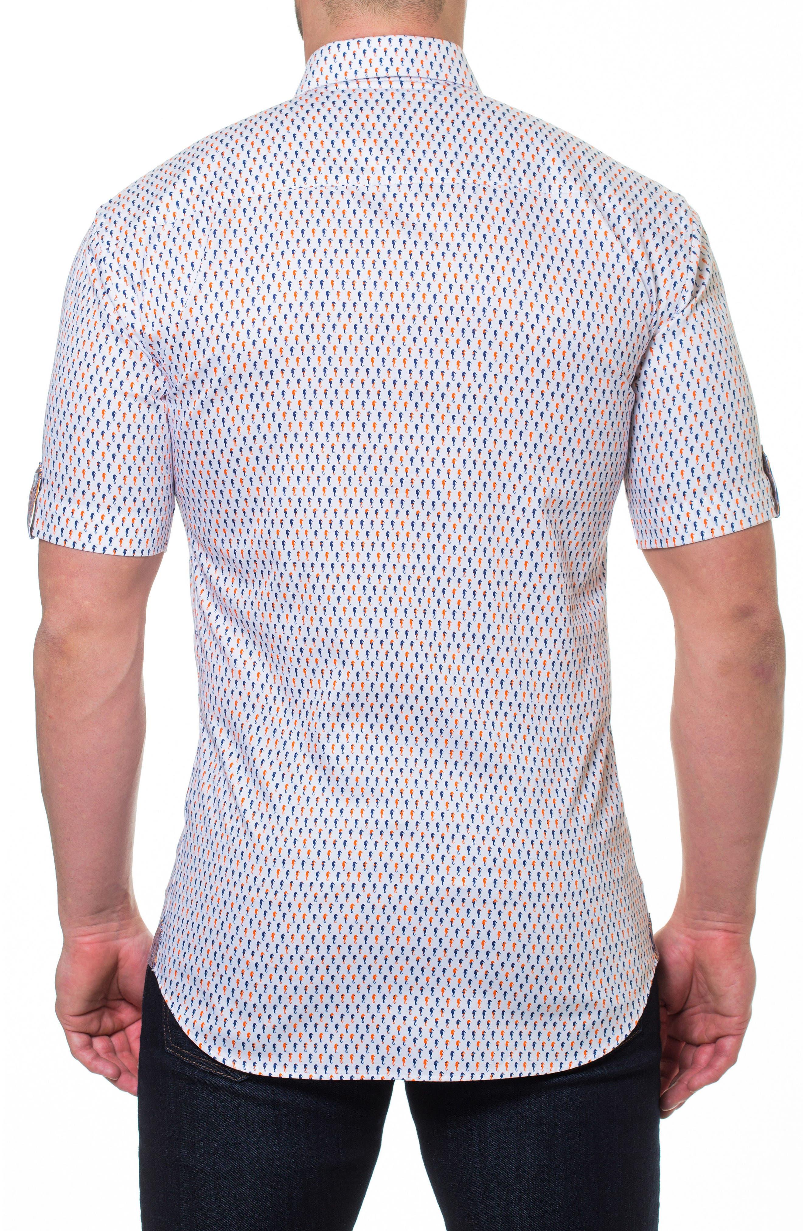 Fresh Seahorse Print Sport Shirt,                             Alternate thumbnail 2, color,                             White