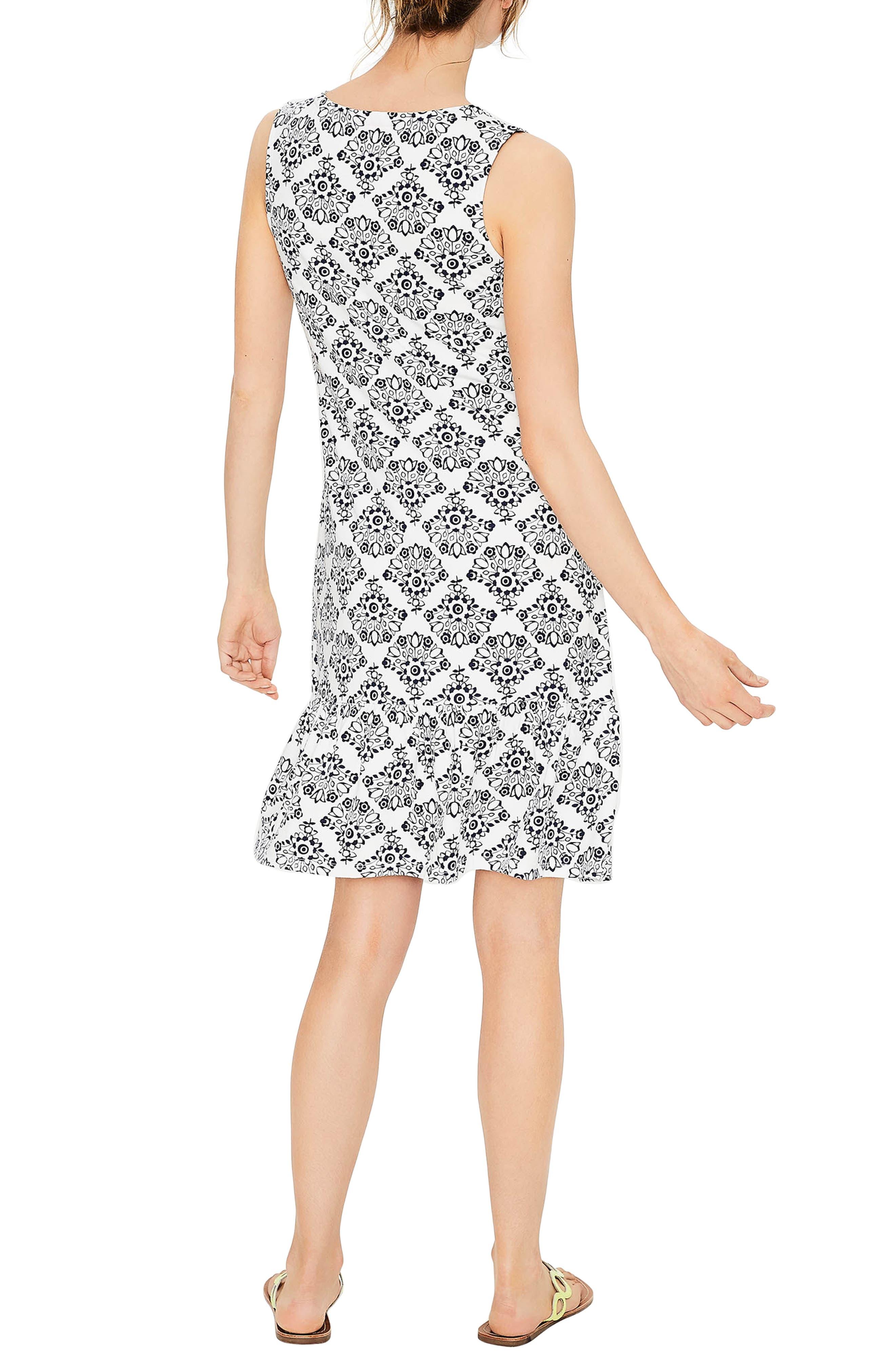 Tassel Tie Print Tank Dress,                             Alternate thumbnail 3, color,                             Ivory/Navy Floral Bo