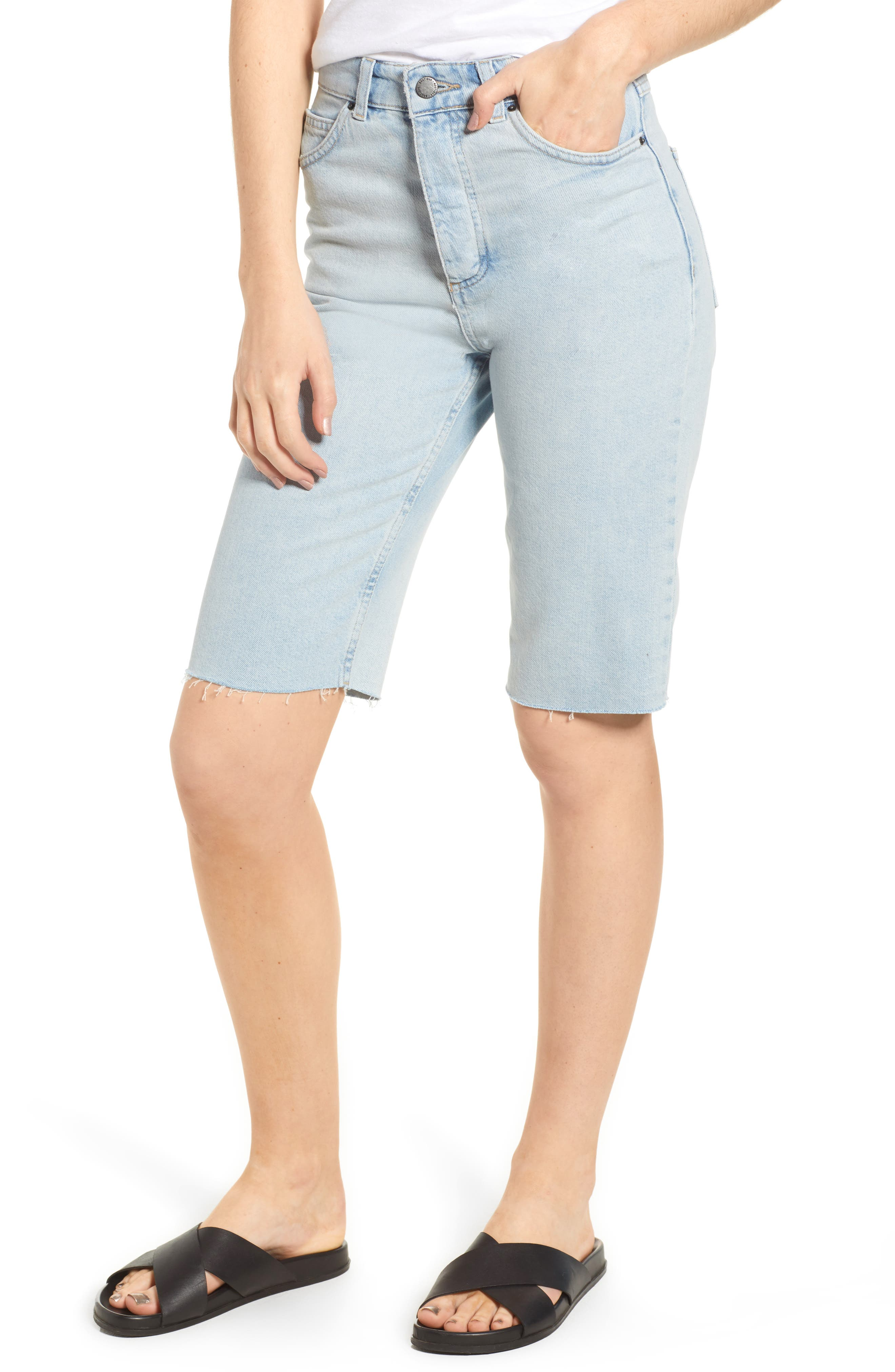 Alternate Image 1 Selected - Topshop Boutique Bleach Denim Board Shorts