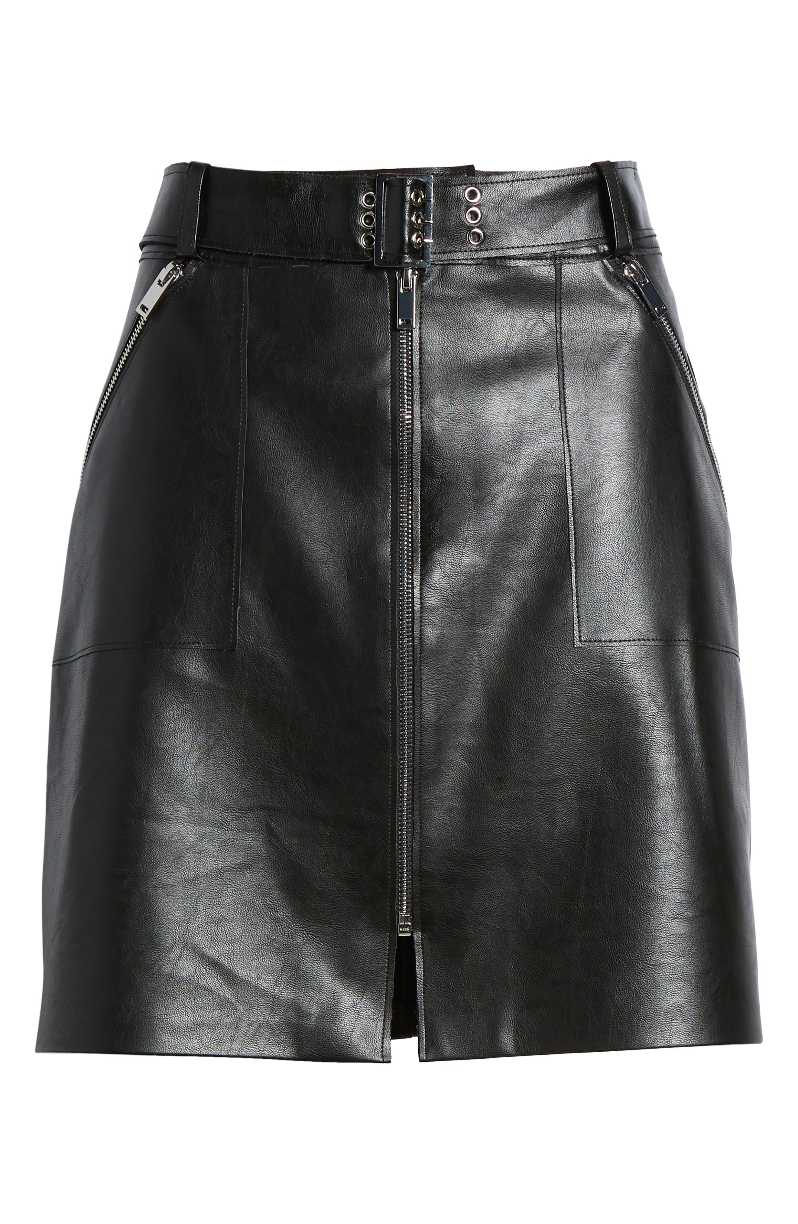 Faux Leather Miniskirt,                             Alternate thumbnail 6, color,                             Black