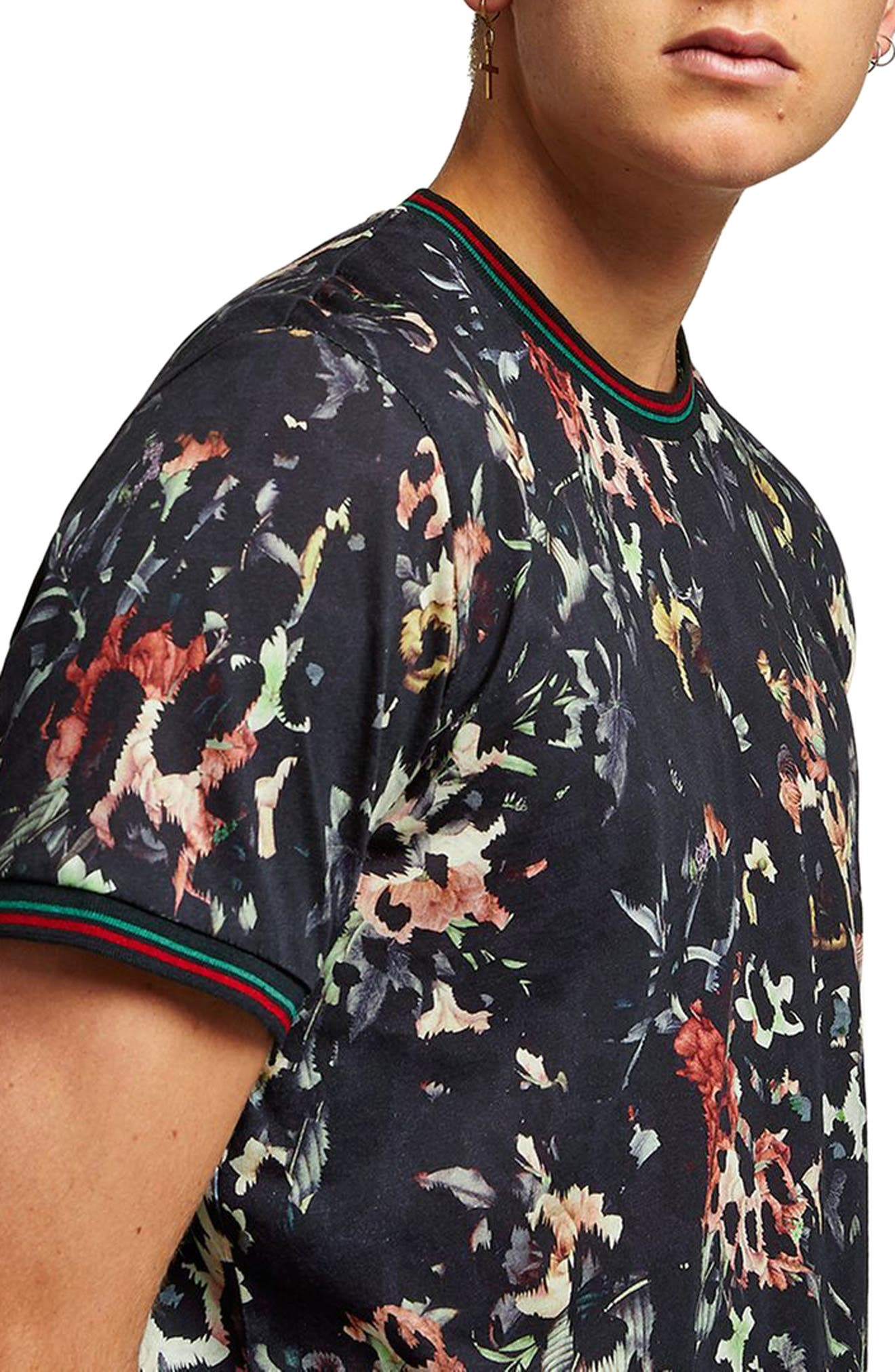 Floral Leopard Print T-Shirt,                             Alternate thumbnail 3, color,                             Black Multi