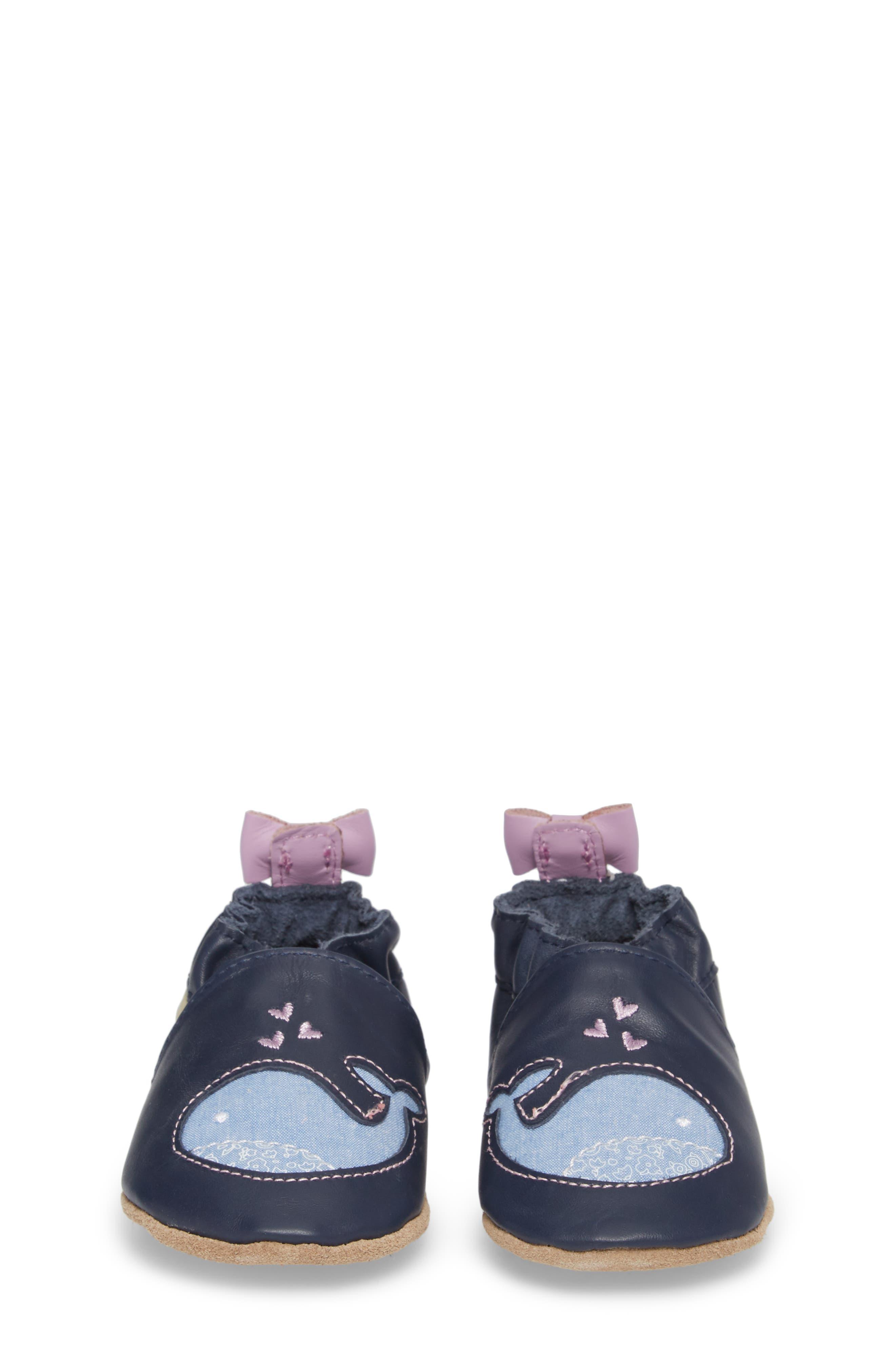 Poppy Whale Crib Shoe,                             Alternate thumbnail 5, color,                             Navy