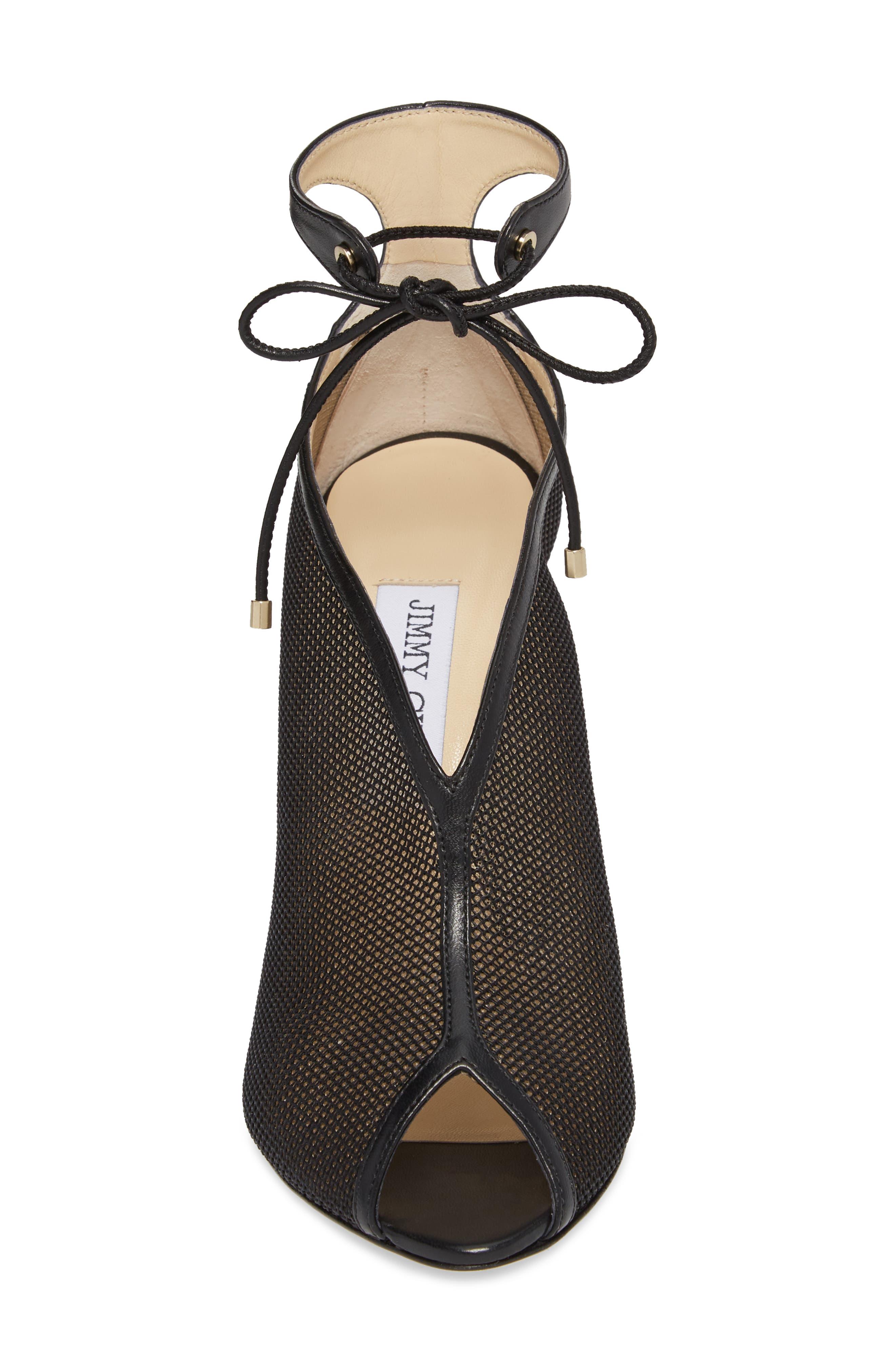 Sayra Ankle Tie Bootie,                             Alternate thumbnail 4, color,                             Black