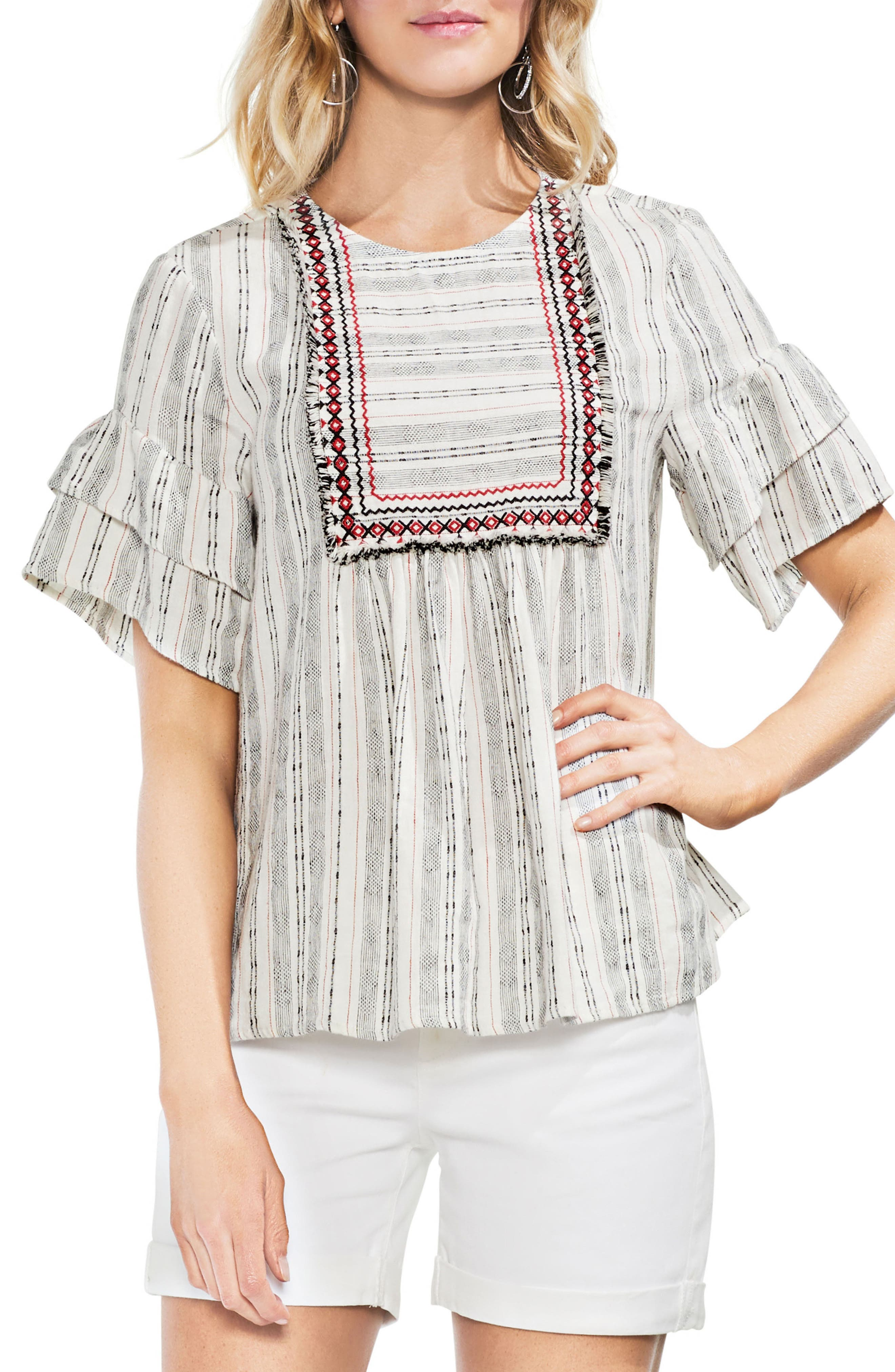 Short Sleeve Embroidered Peasant Top,                         Main,                         color, Rio Red