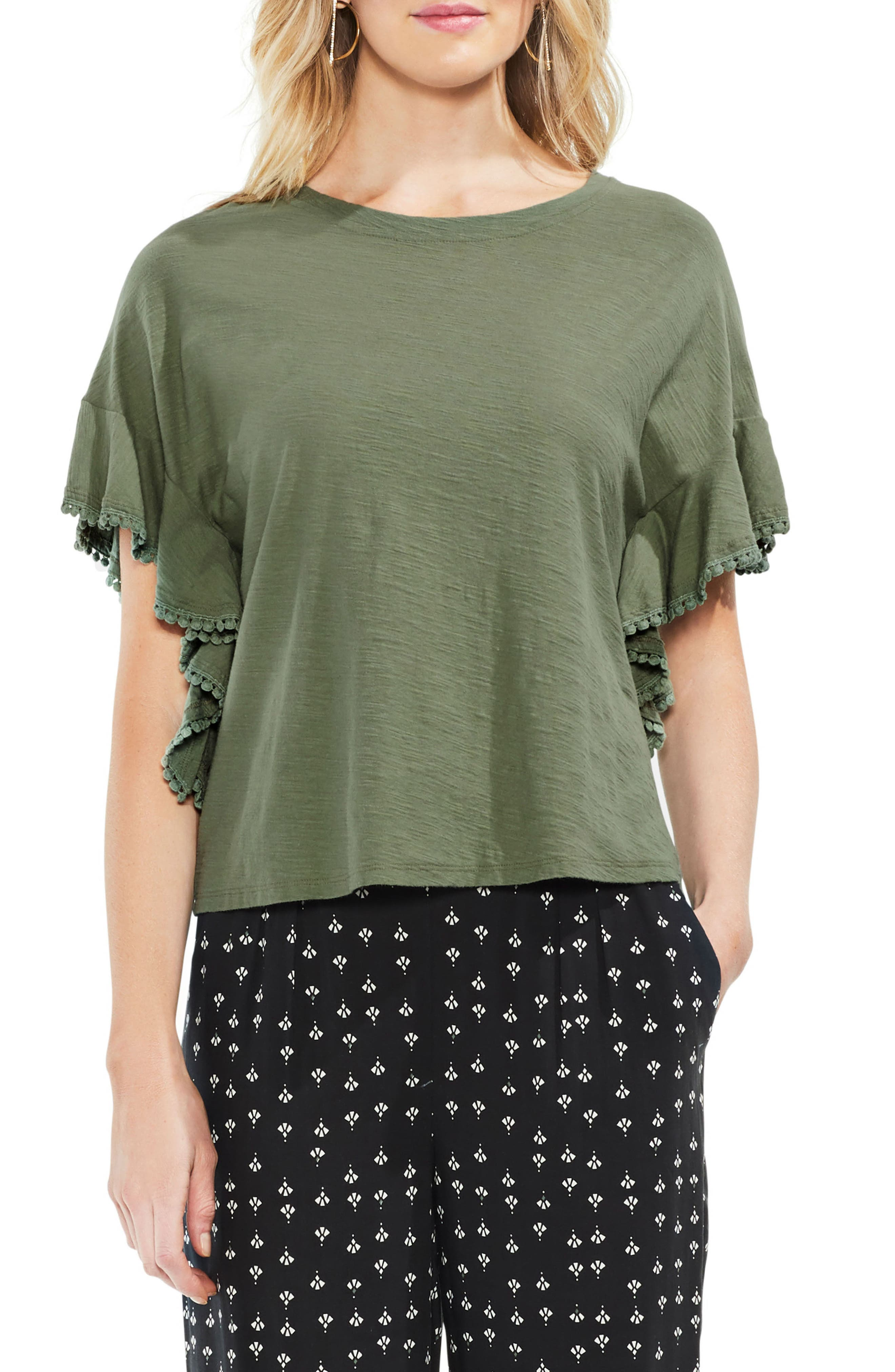 Ruffle Sleeve Tee,                         Main,                         color, Canopy Green