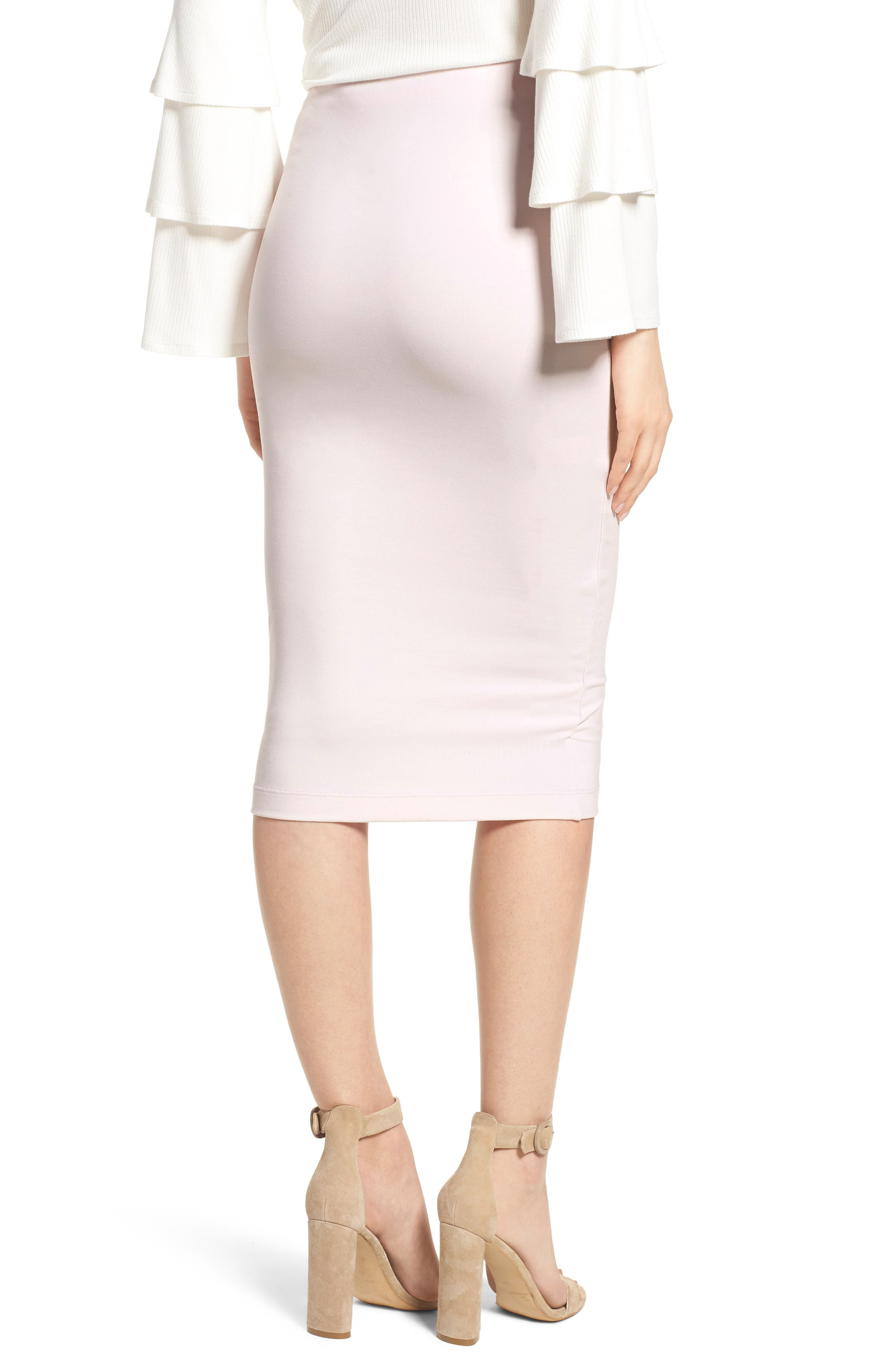 Tube High Rise Pencil Skirt,                             Alternate thumbnail 2, color,                             Soft Pink