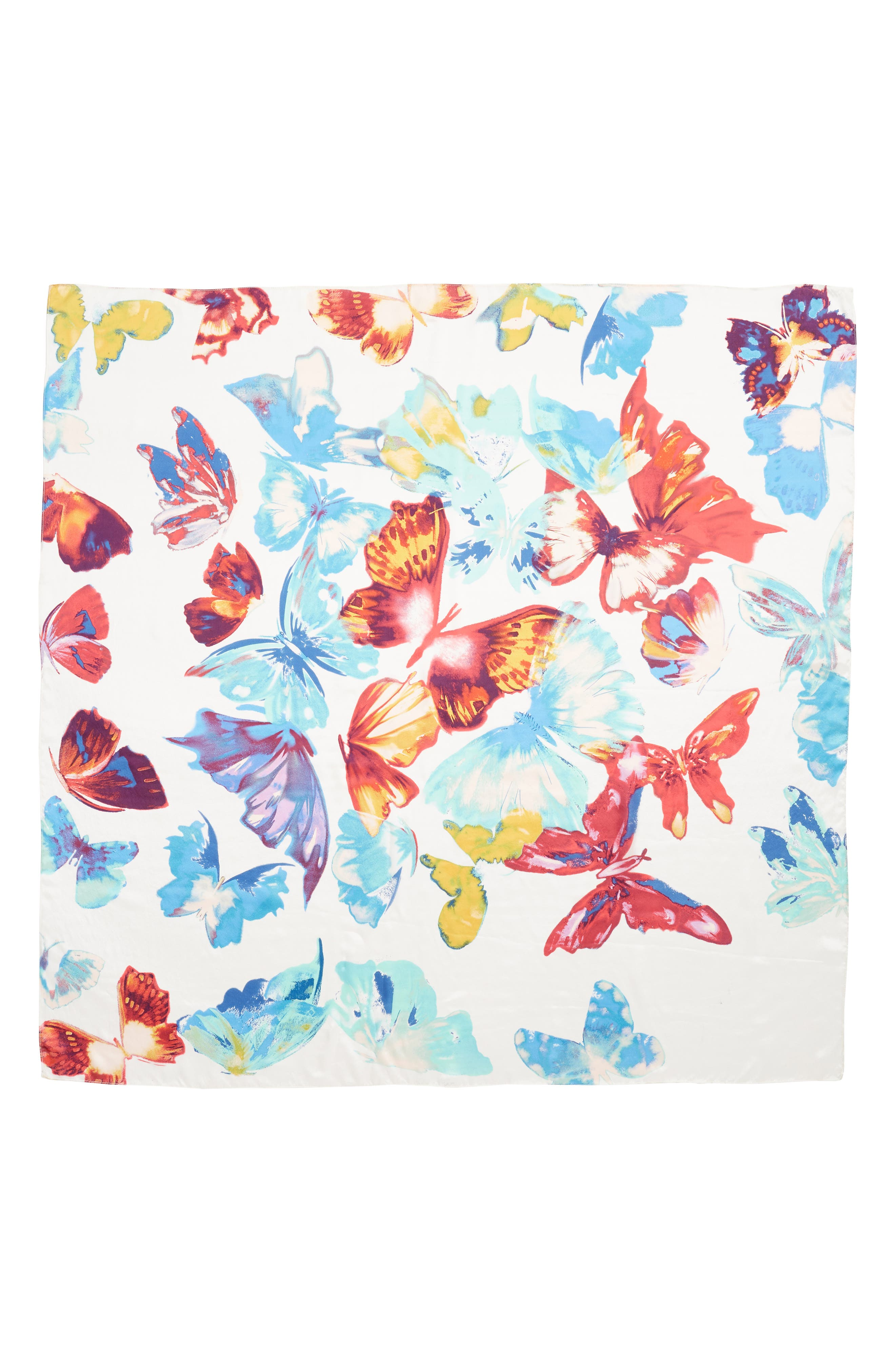 Print Silk Square Scarf,                             Alternate thumbnail 3, color,                             White Butterfly Burst