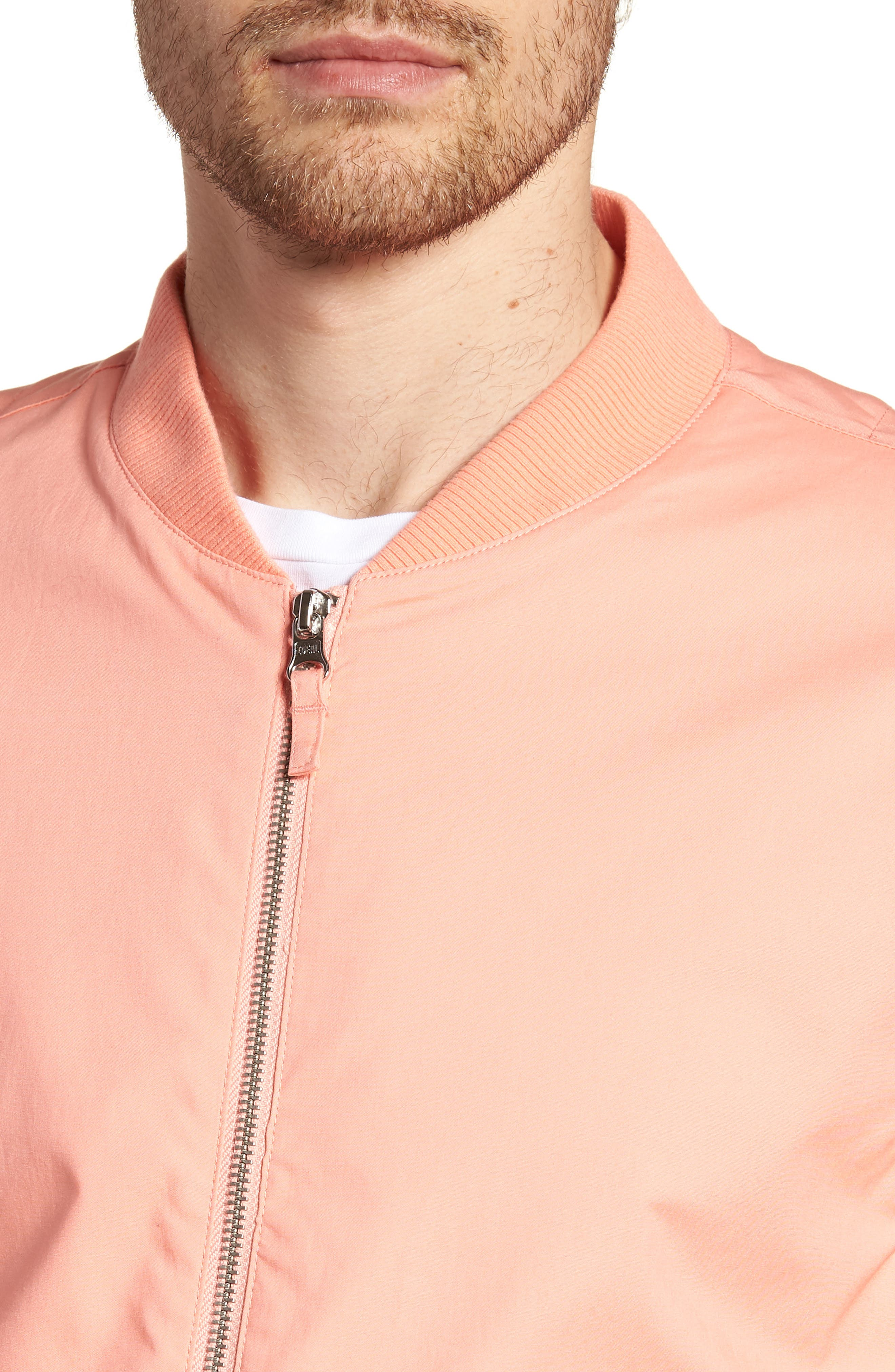 Stretch Bomber Jacket,                             Alternate thumbnail 4, color,                             Solid - Peach