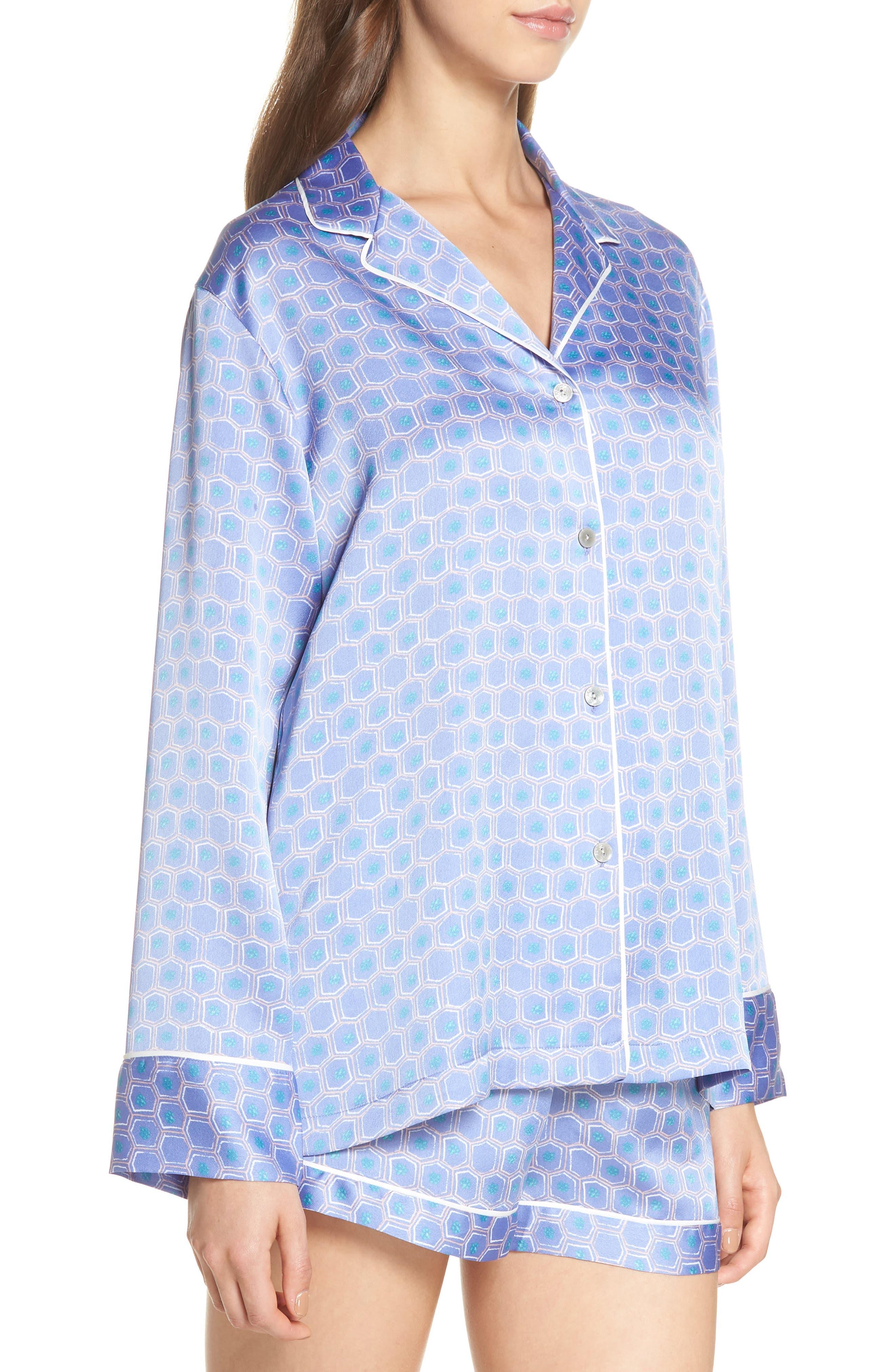 Honeycomb Short Pajamas,                             Alternate thumbnail 3, color,                             Wedgewood