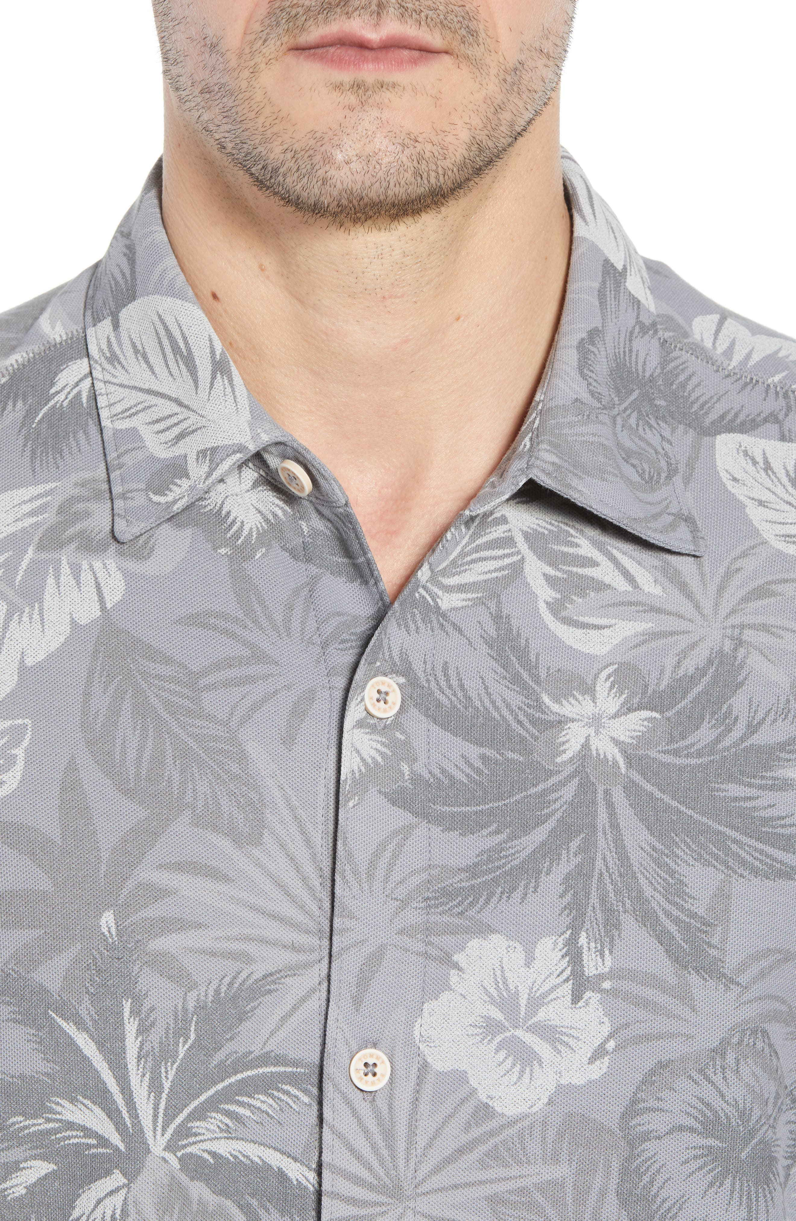Fuego Floral Camp Shirt,                             Alternate thumbnail 4, color,                             Iced Slate