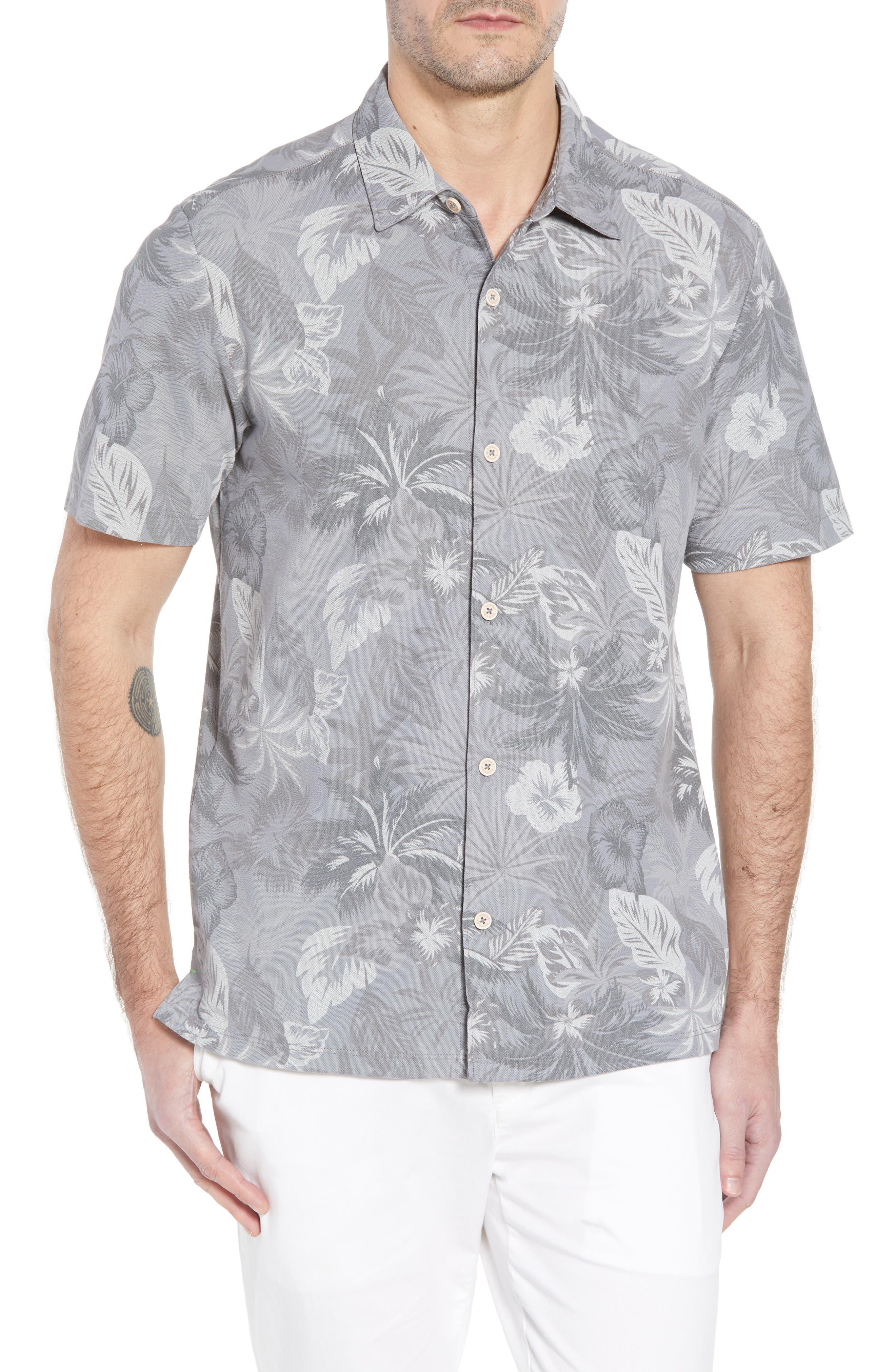 Fuego Floral Camp Shirt,                             Main thumbnail 1, color,                             Iced Slate