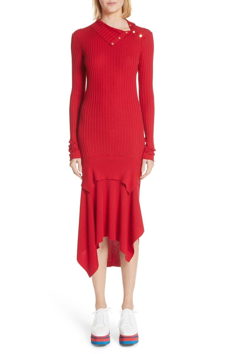 Handkerchief Hem Ribbed Wool  Silk Dress