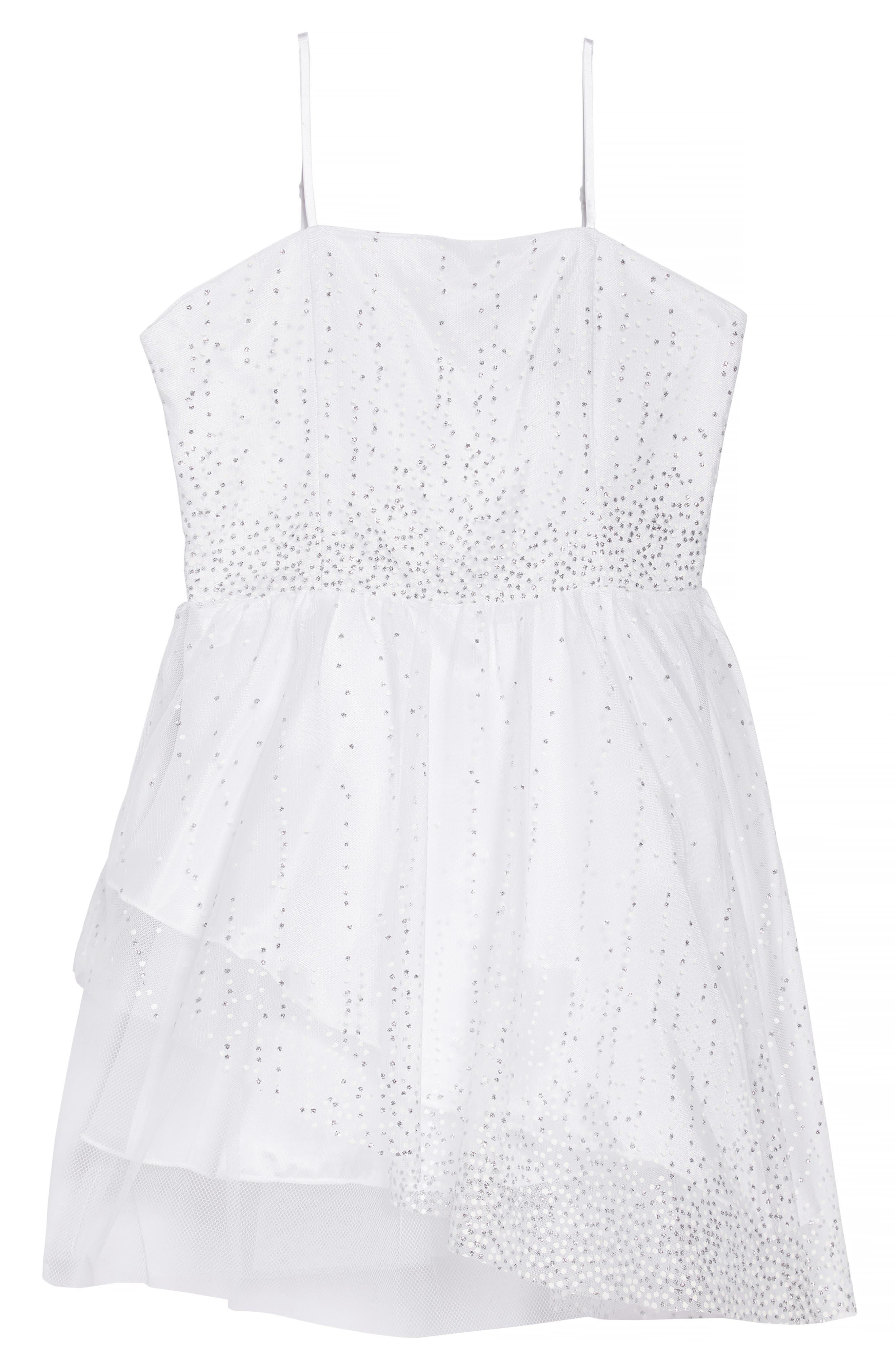 Sequin Dress,                             Main thumbnail 1, color,                             White/ Silver